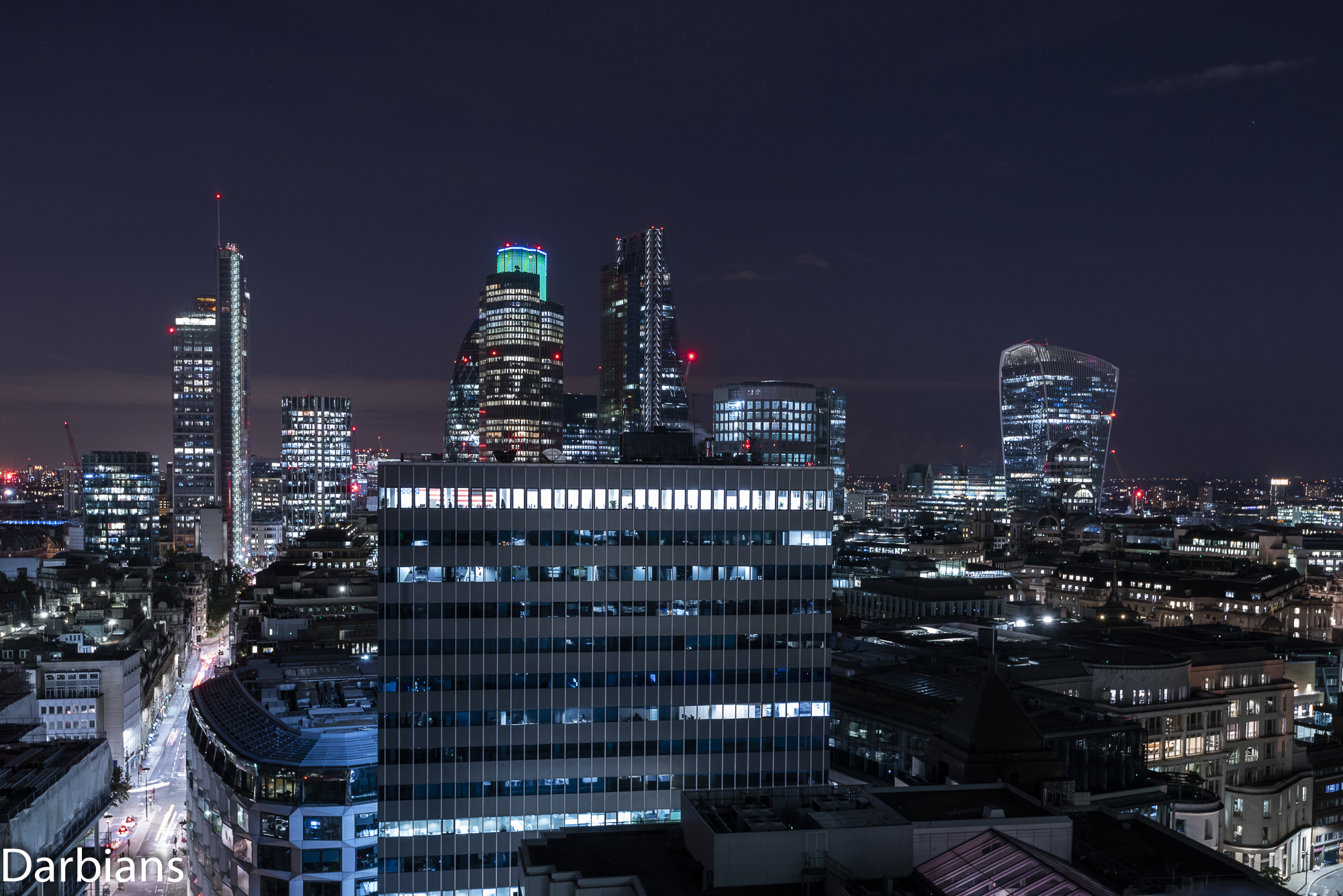 110 Bishopsgate, The Gherkin peaking out behind Tower 42, The Cheesegrater and 1 Angel Court with City Tower in the foreground, not sure why it has a US flag in there.