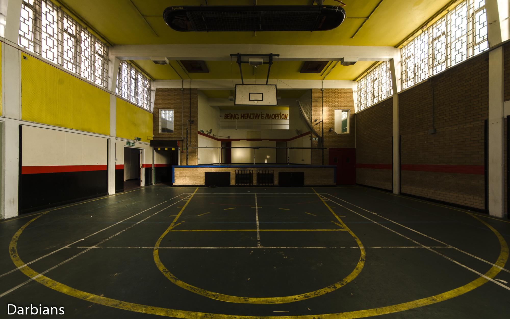 HMP Blundeston Prison. Sports hall also had a stage.