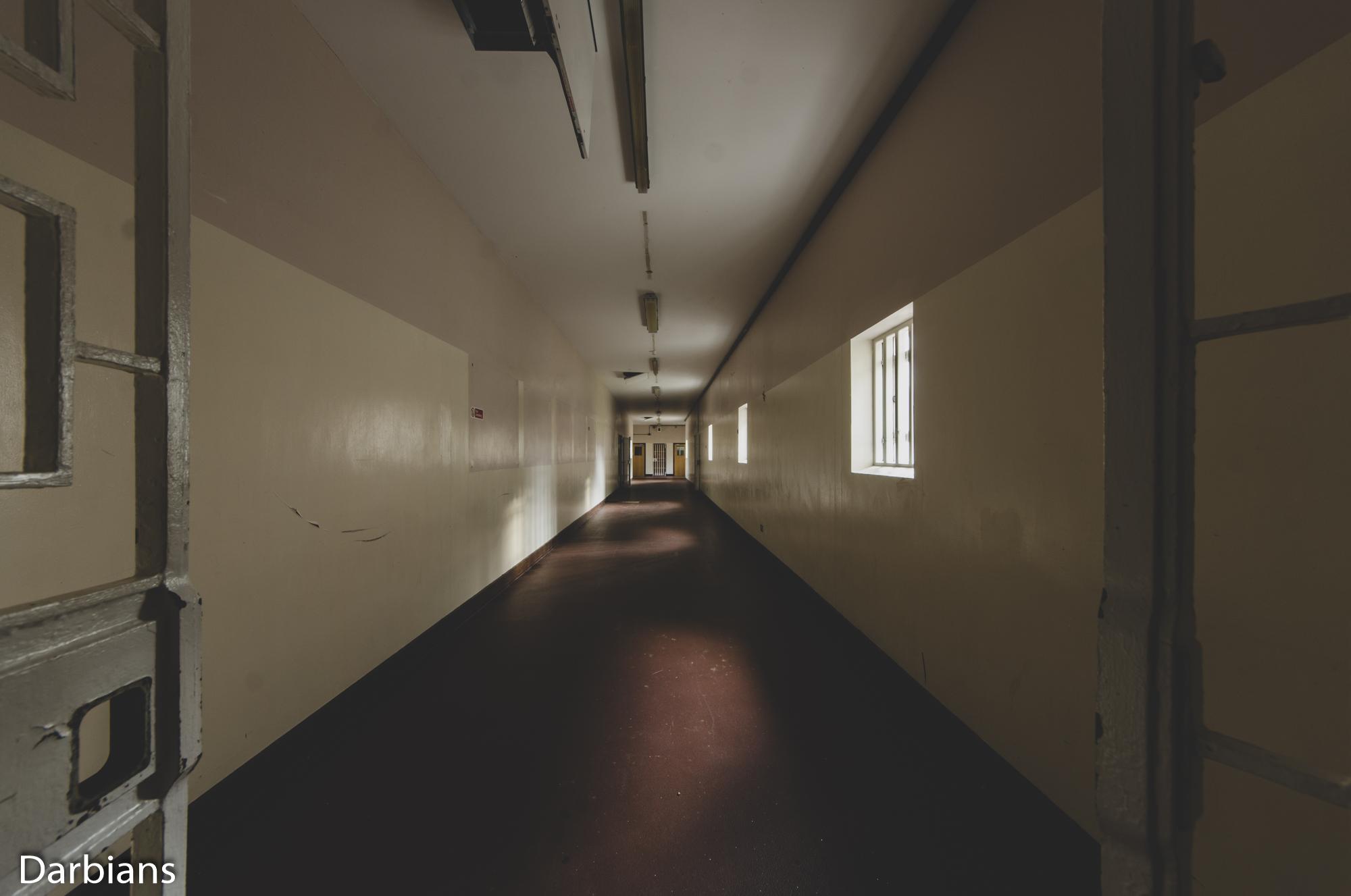 HMP Blundeston Prison. Long corridor.