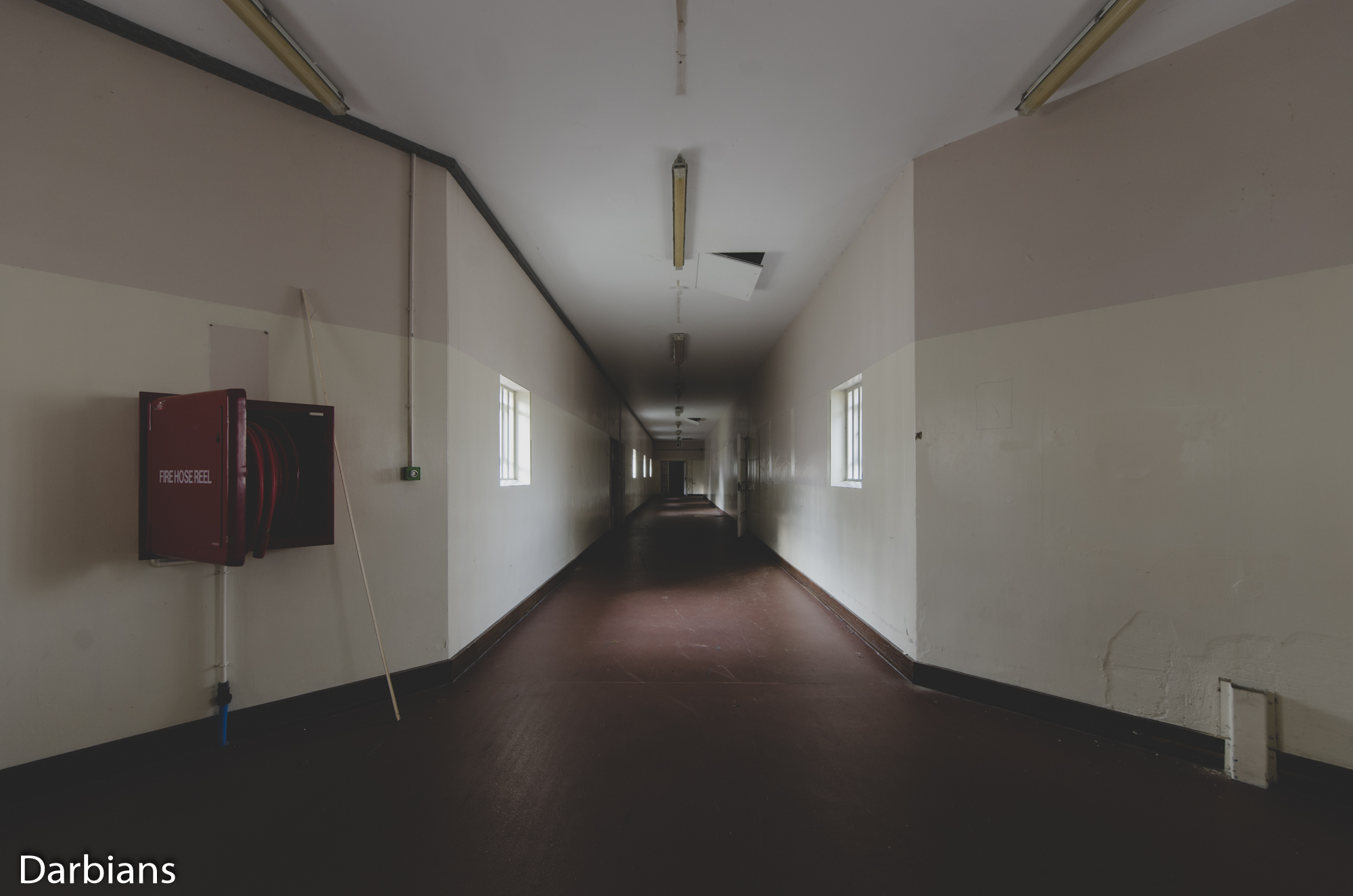 HMP Blundeston Prison. Other end of the long corridor.