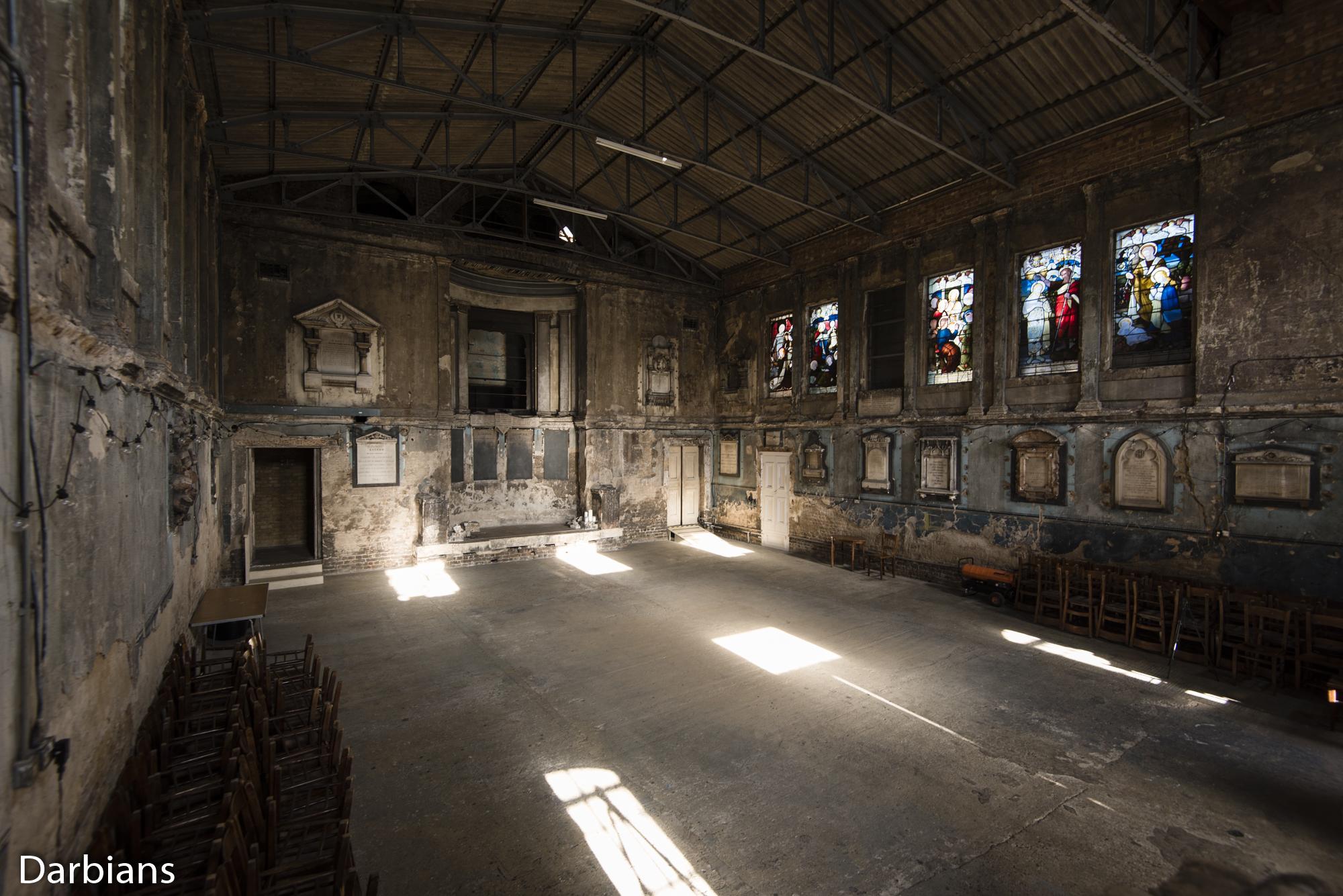 Asylum Chapel. High up angled view.