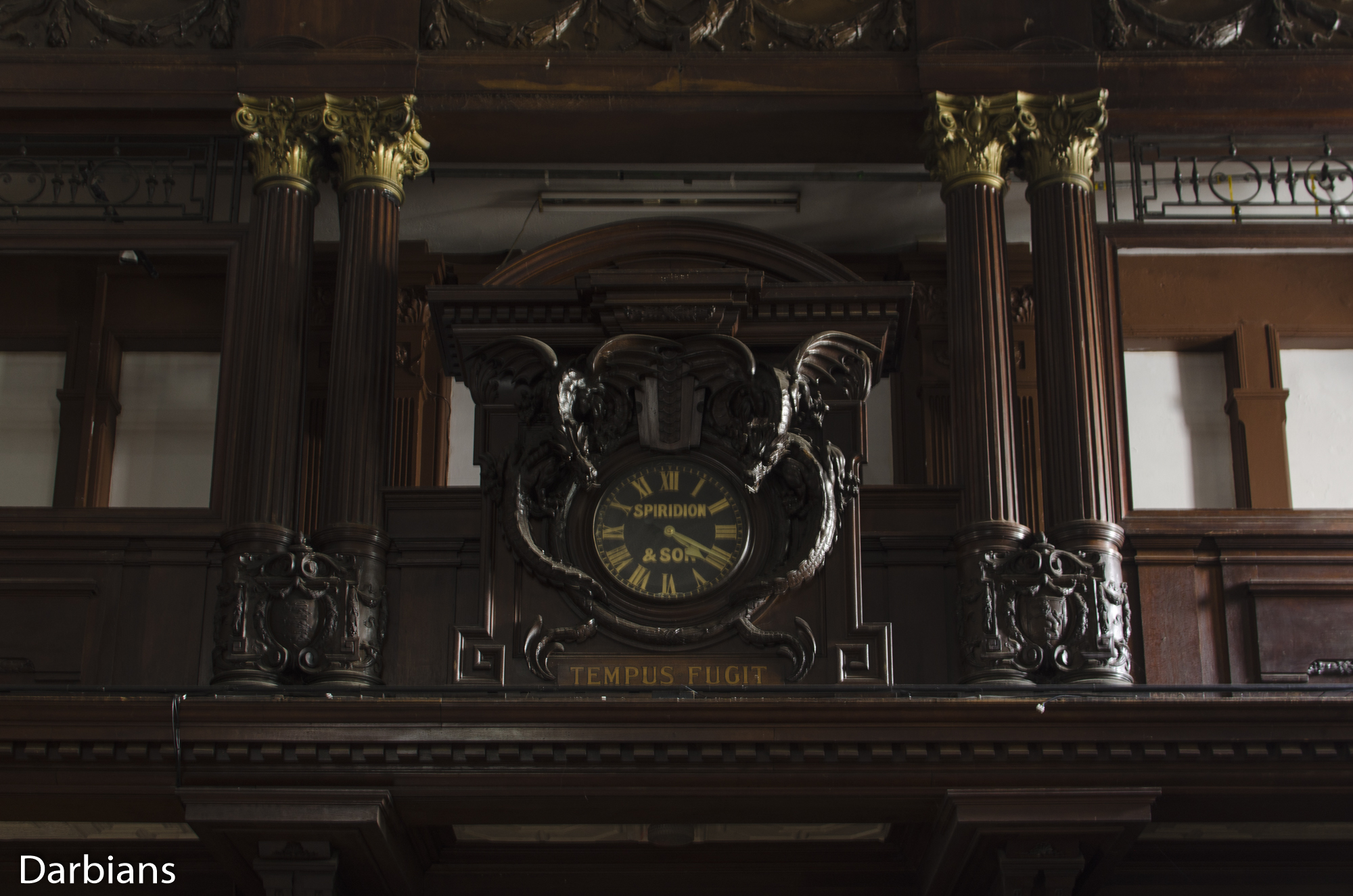 Cardiff Coal Exchange. Clock in the main hall.