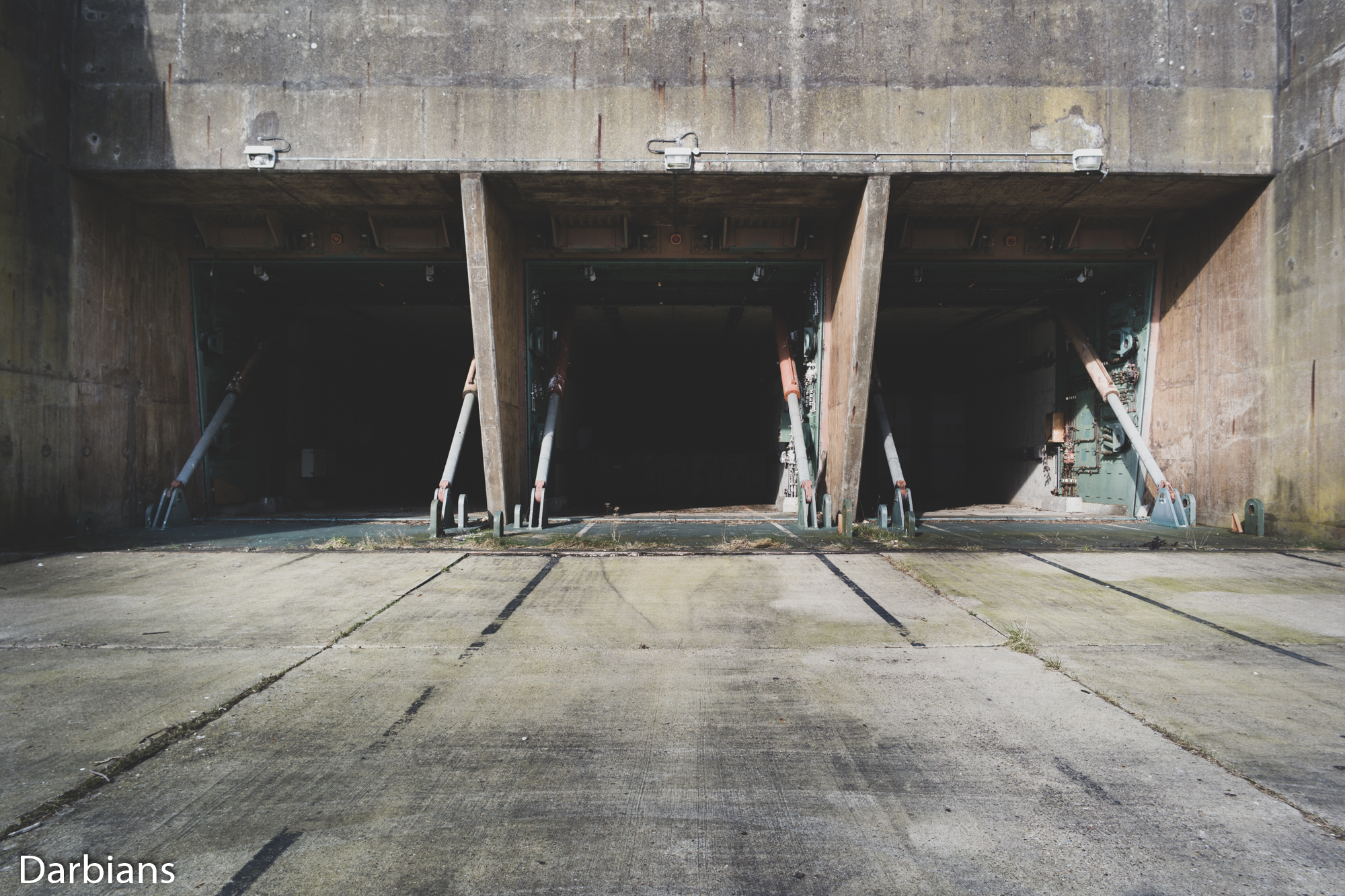 RAF Greenham Common: Head on view of one of the silos. Sadly these were being used for storage.