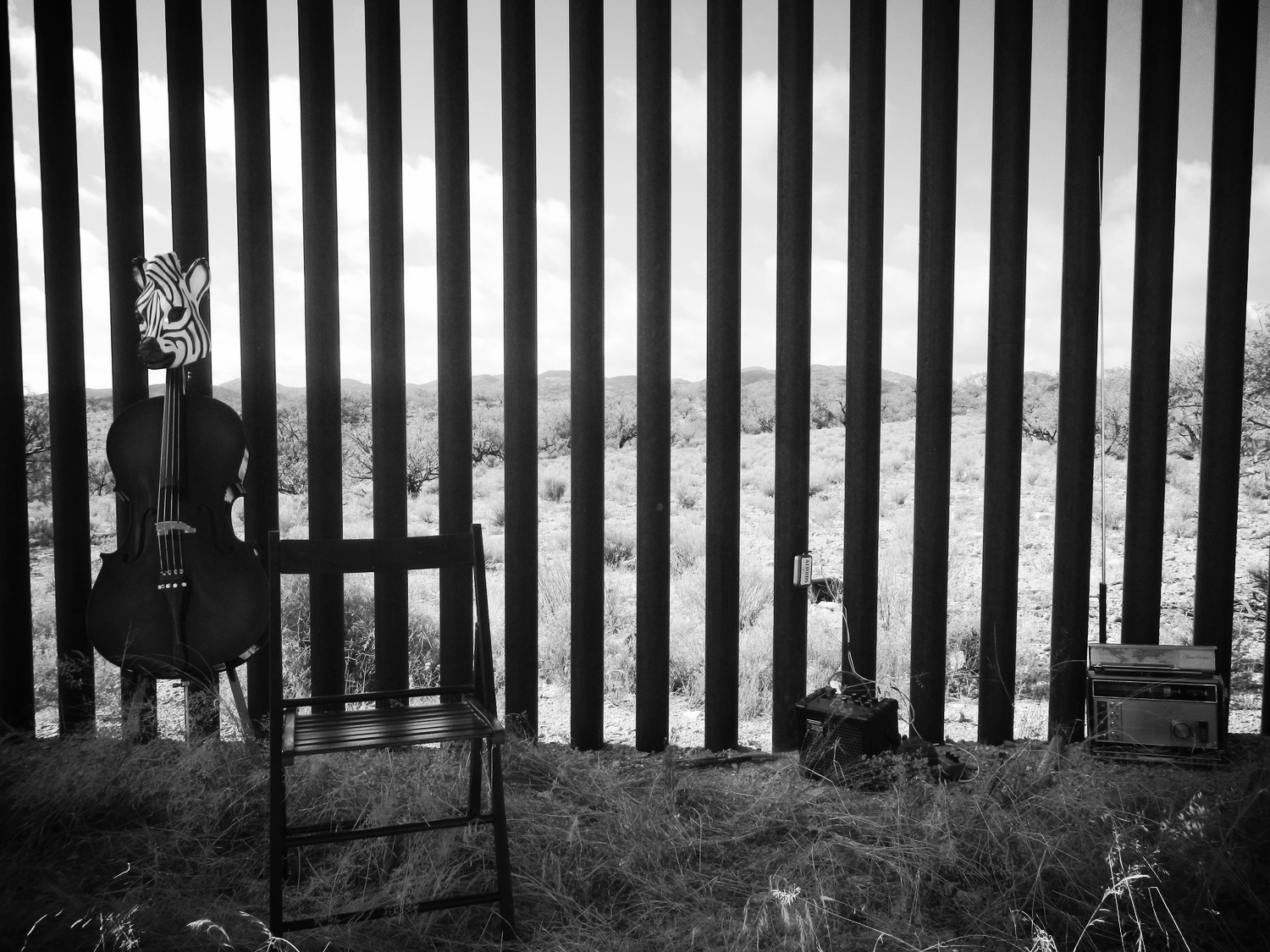Nogales-Sasabe Border Wall Soundings -- The stage is set for a performance of Performance for Surveillance in Sasabe (2013)