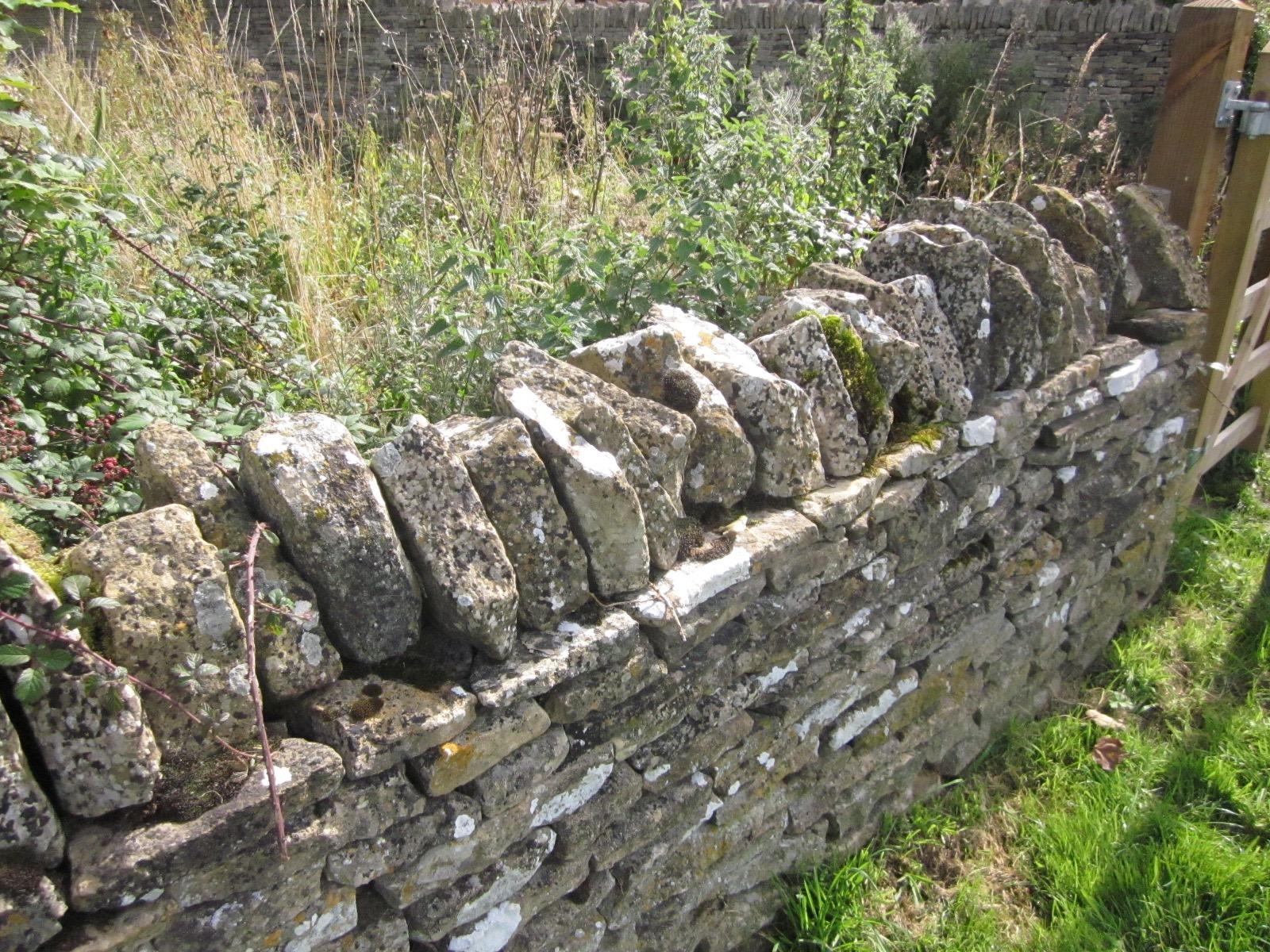A dry rock wall, no mortar.