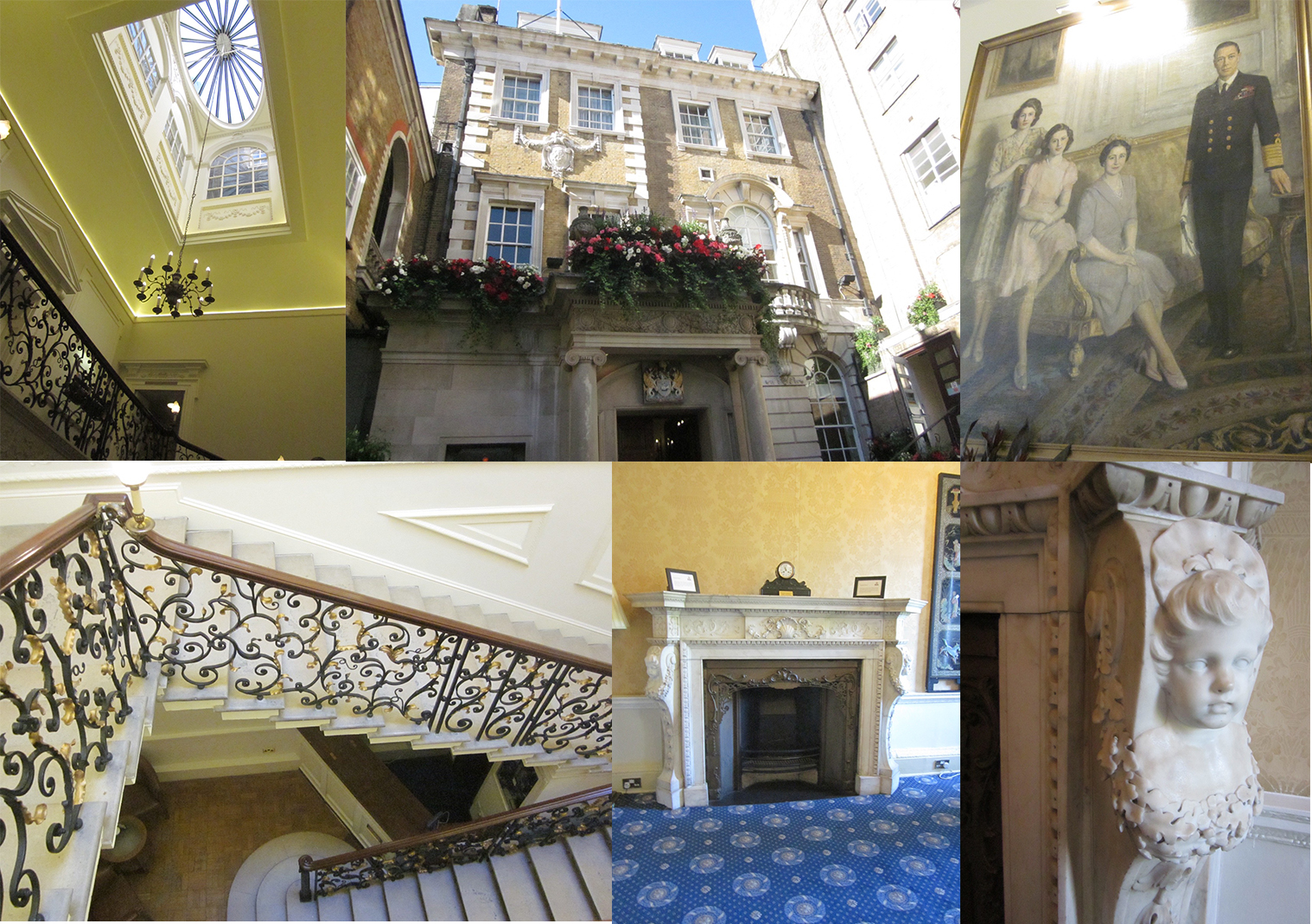(Clockwise, L-R) The Lantern ceiling above the wrought iron staircase, the exterior of the Royal Overseas League, Queen Elizabeth's reputedly favorite family portrait, possible likeness of the Duchess of Rutland's lost brother?, the Duchess of Rutland's fireplace in her dressing room, the wrought iron staircase.
