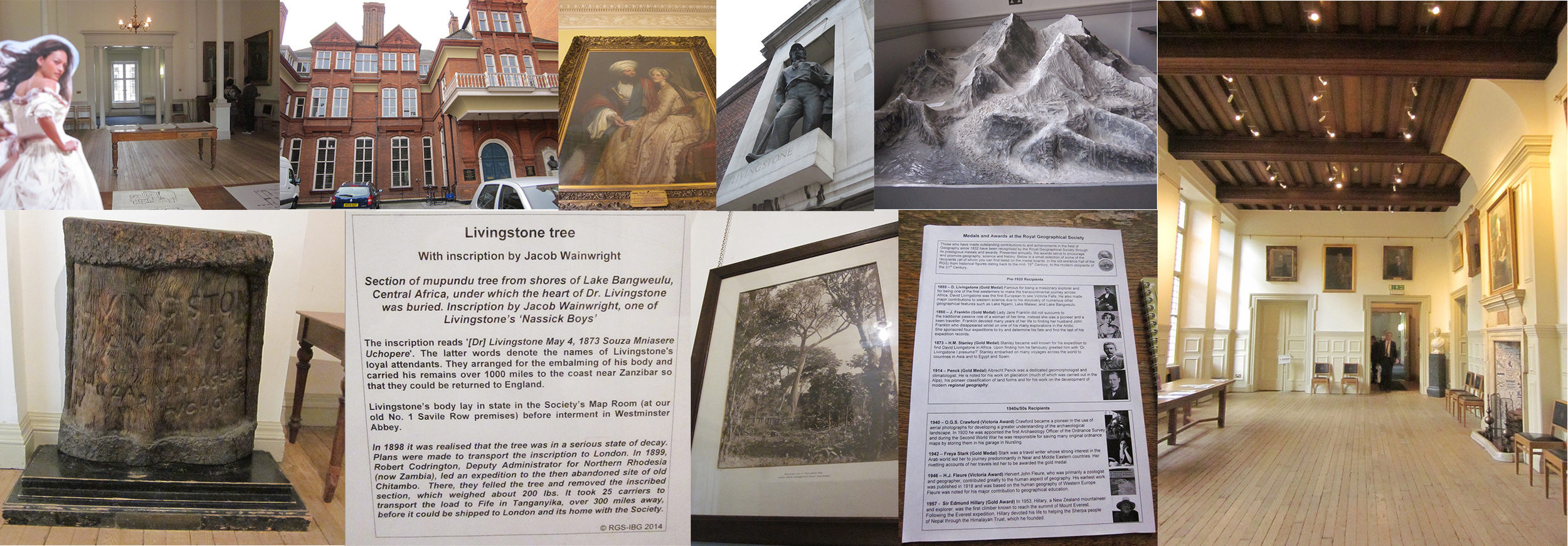 "(L-R, Clockwise: Charlotte finally admitted to the RGS!, Exterior of Lowther Lodge/site of the RGS, James Silk Buckingham, Ext. statue of Livingstone, plaster model of Everest, the main hall of the RGS, former medal recipients, final 3 pictures of the ""Livingstone Tree"""