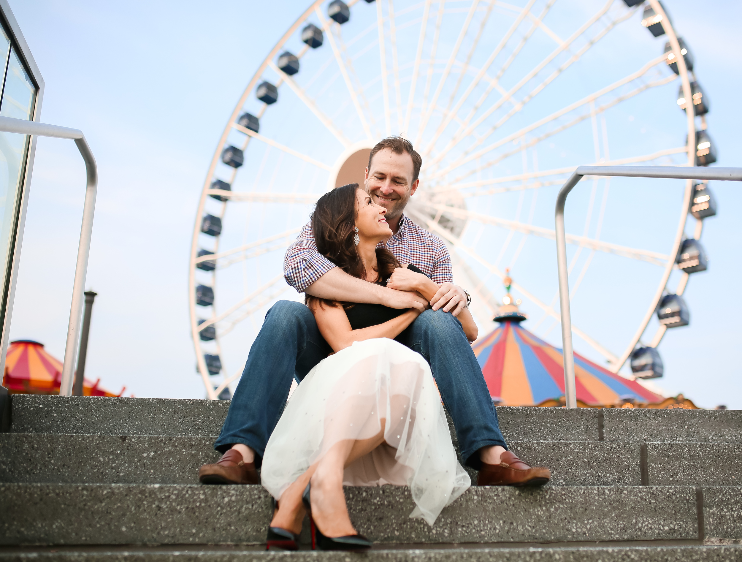 navy pier engaged couple