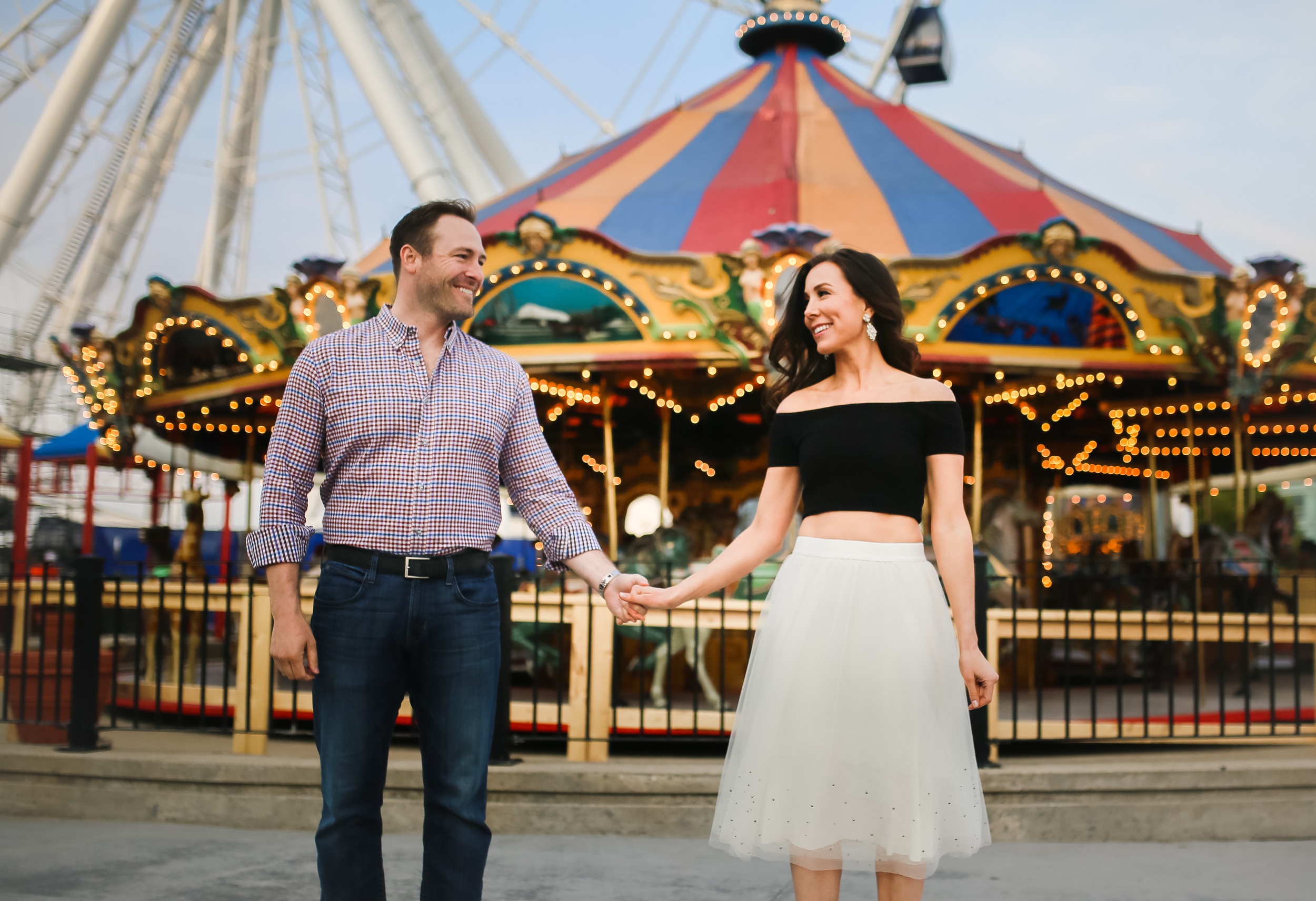 navy pier chicago engaged couple