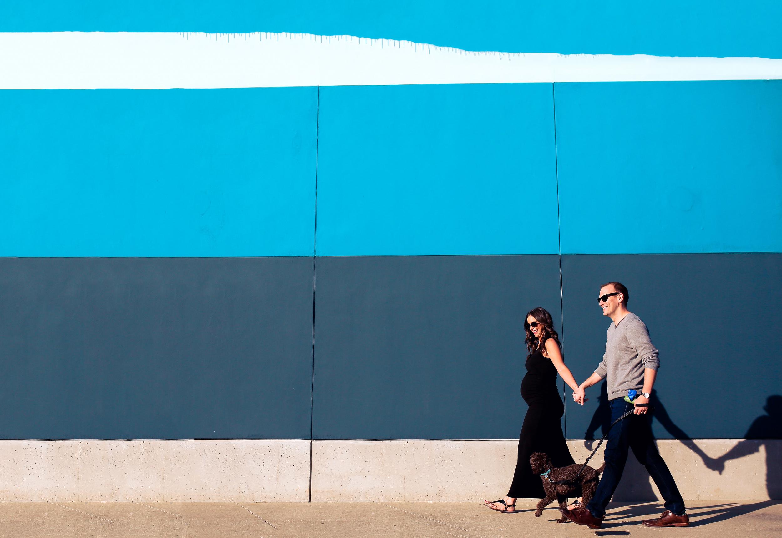 maternity family walking shadows