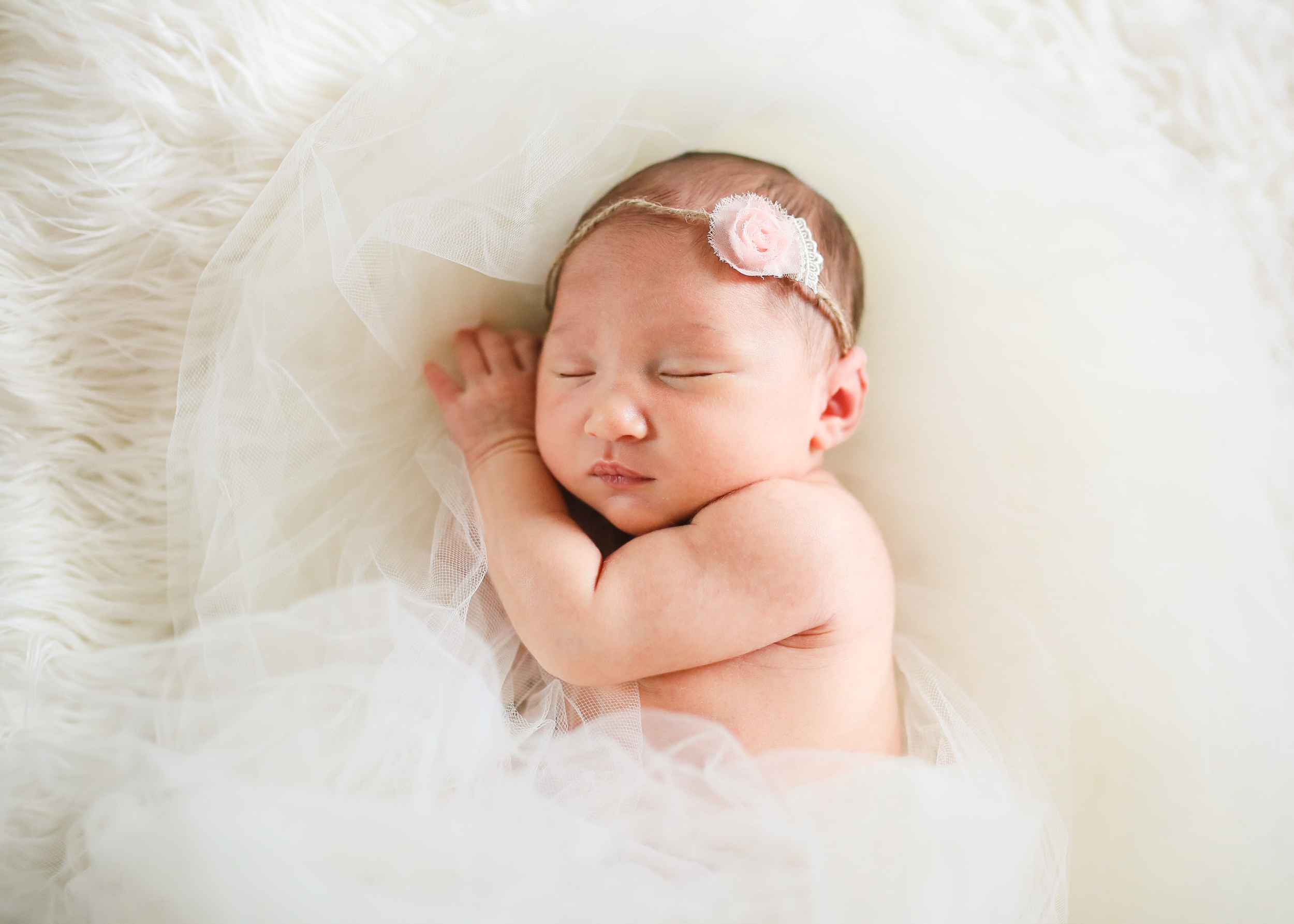 newborn baby girl on tulle