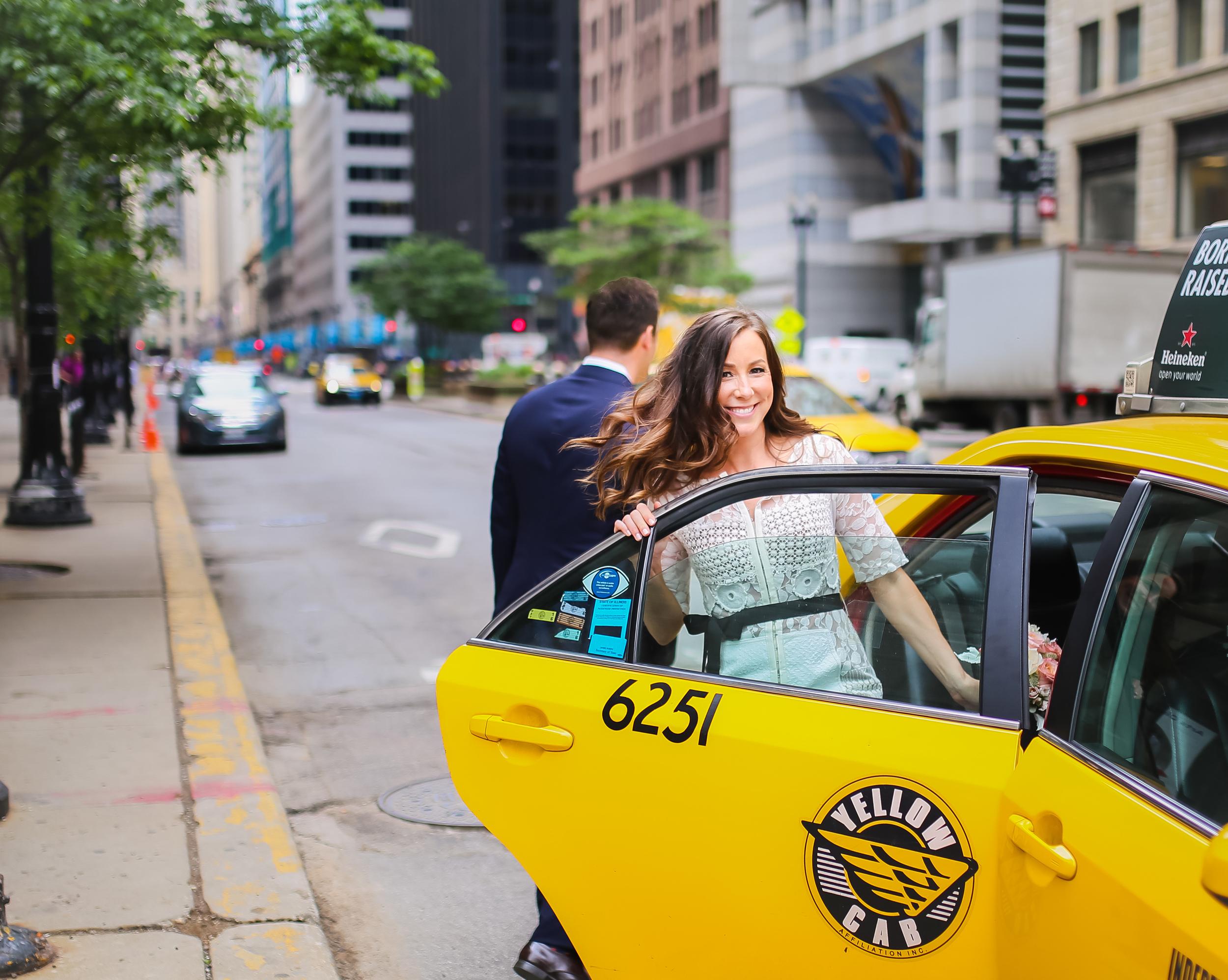 yellow taxi bride hair flip smile