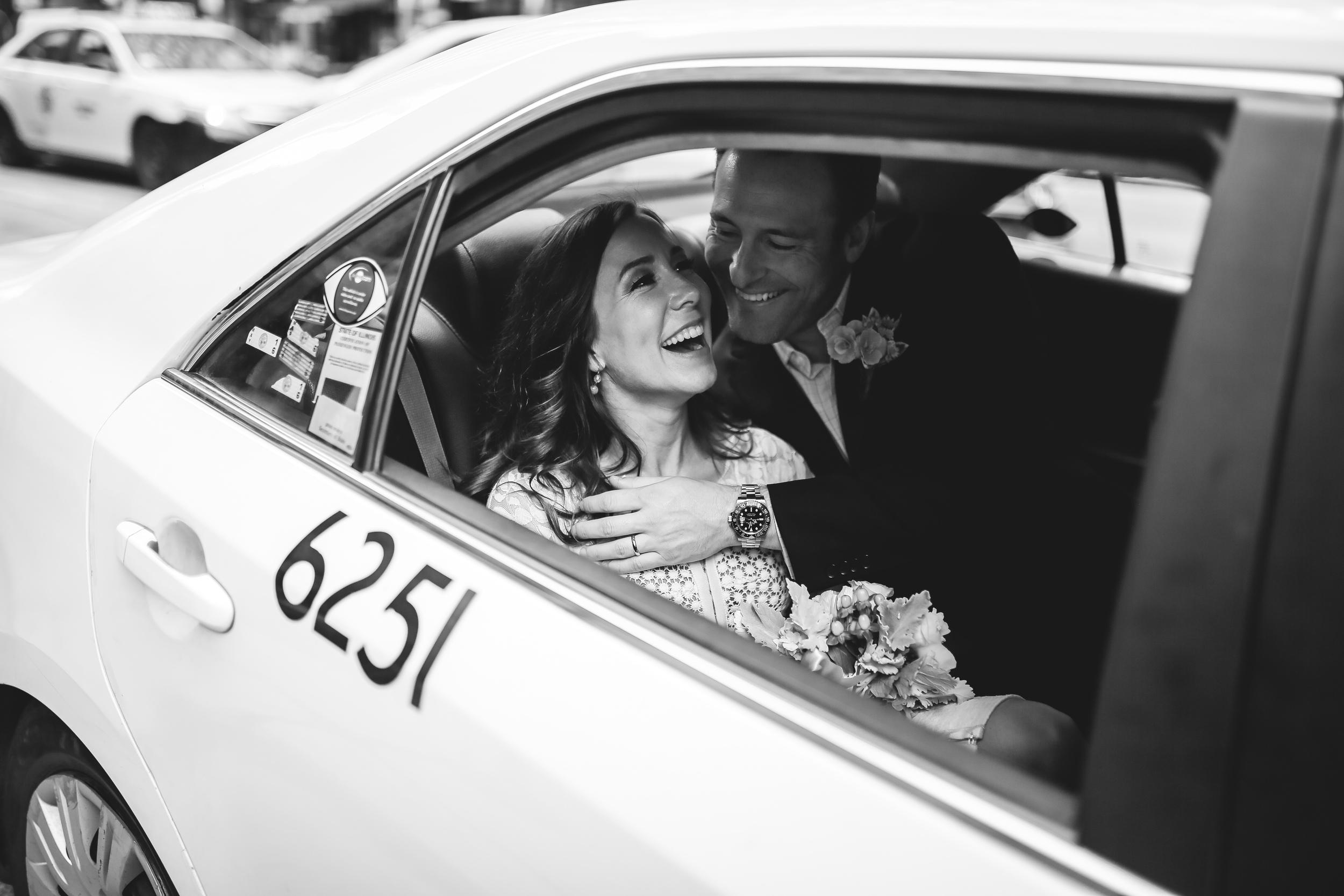bride taxi initimate moment laugh