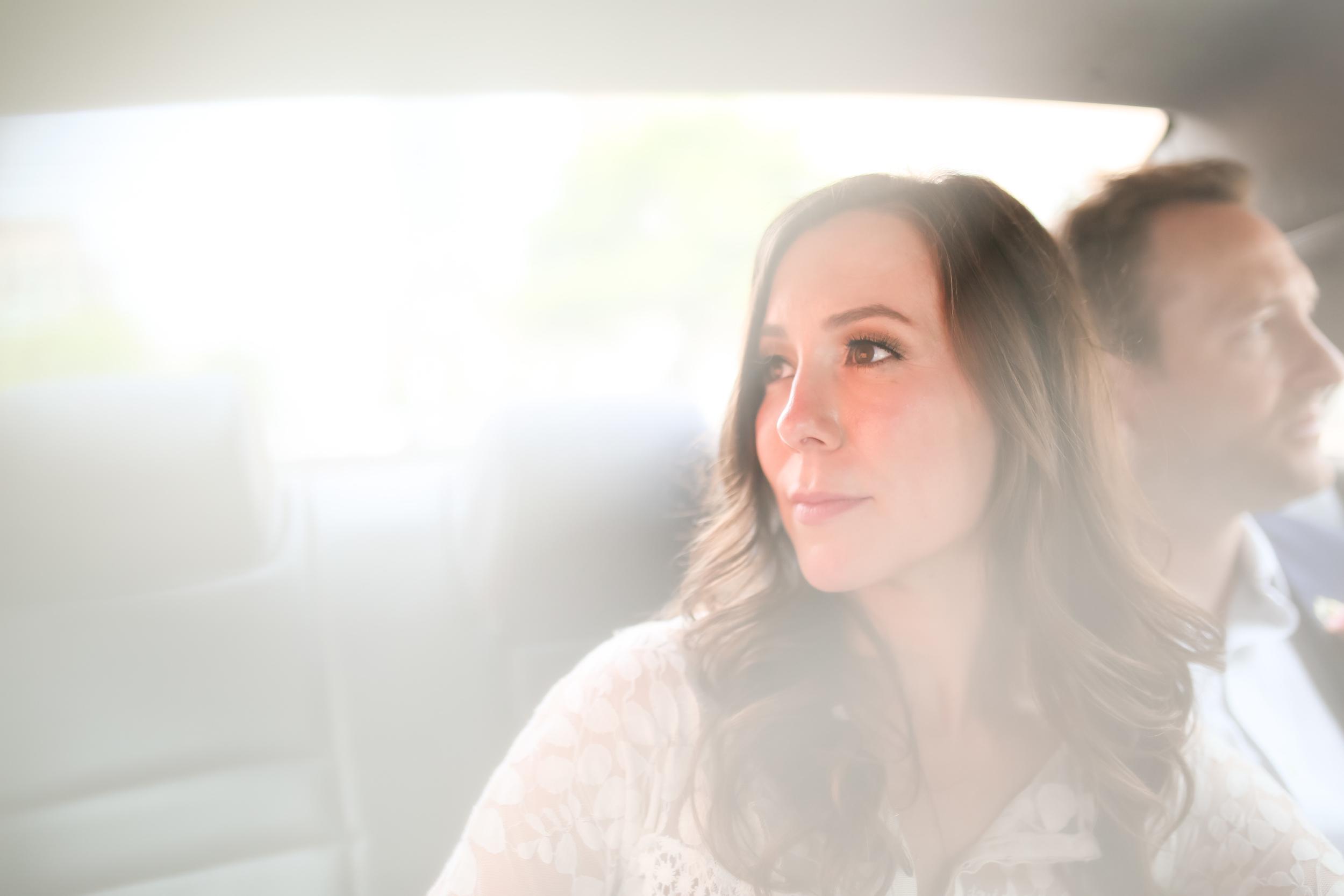 taxi bridal portrait