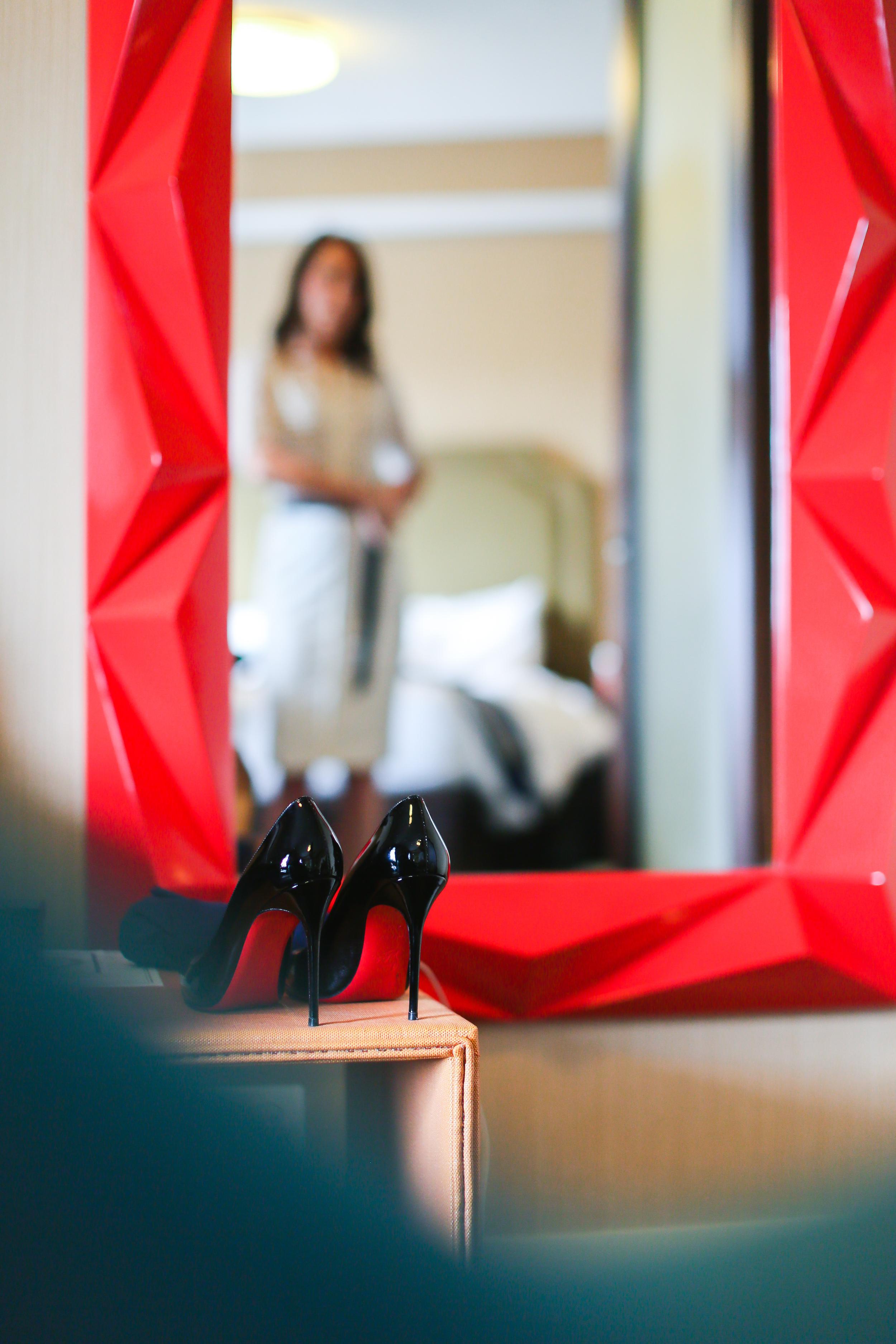 red louboutin heels mirror