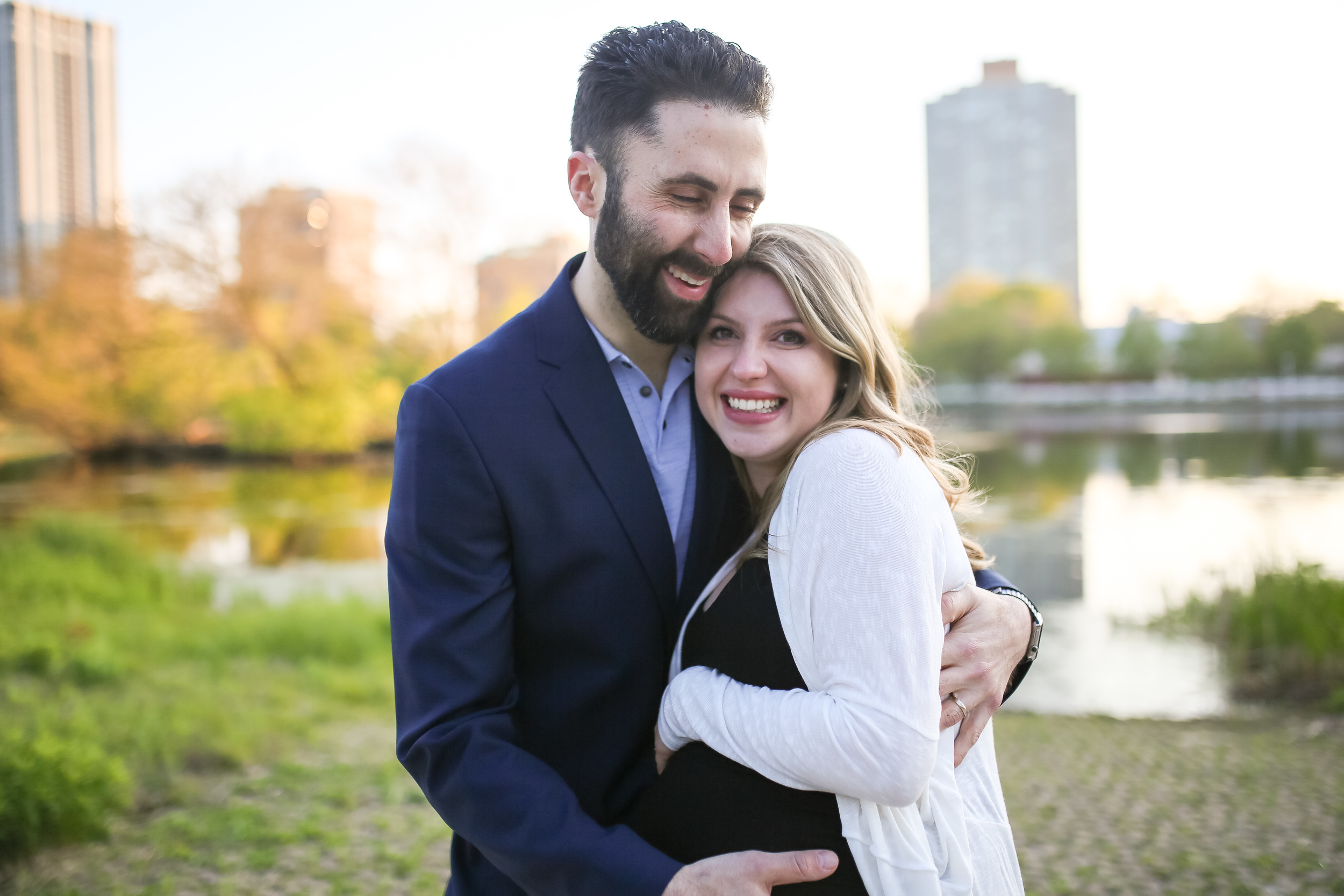 chicago maternity couple smile