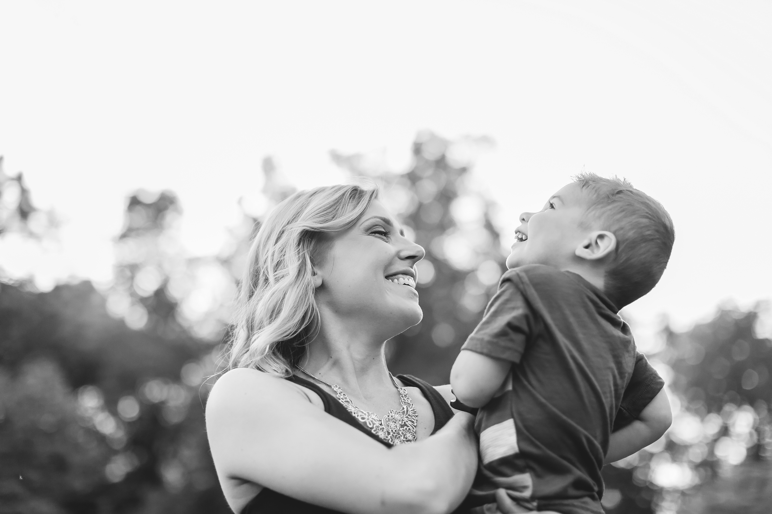 mommy and son black and white
