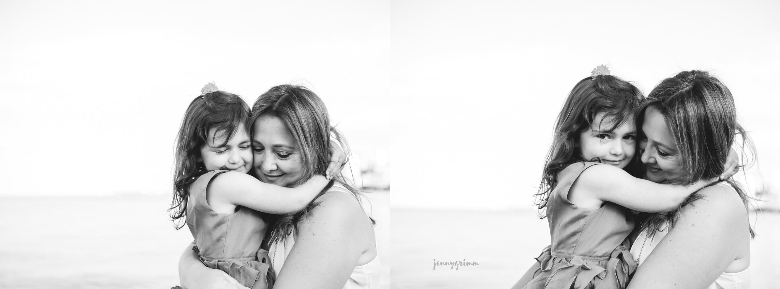black and white mommy me hug