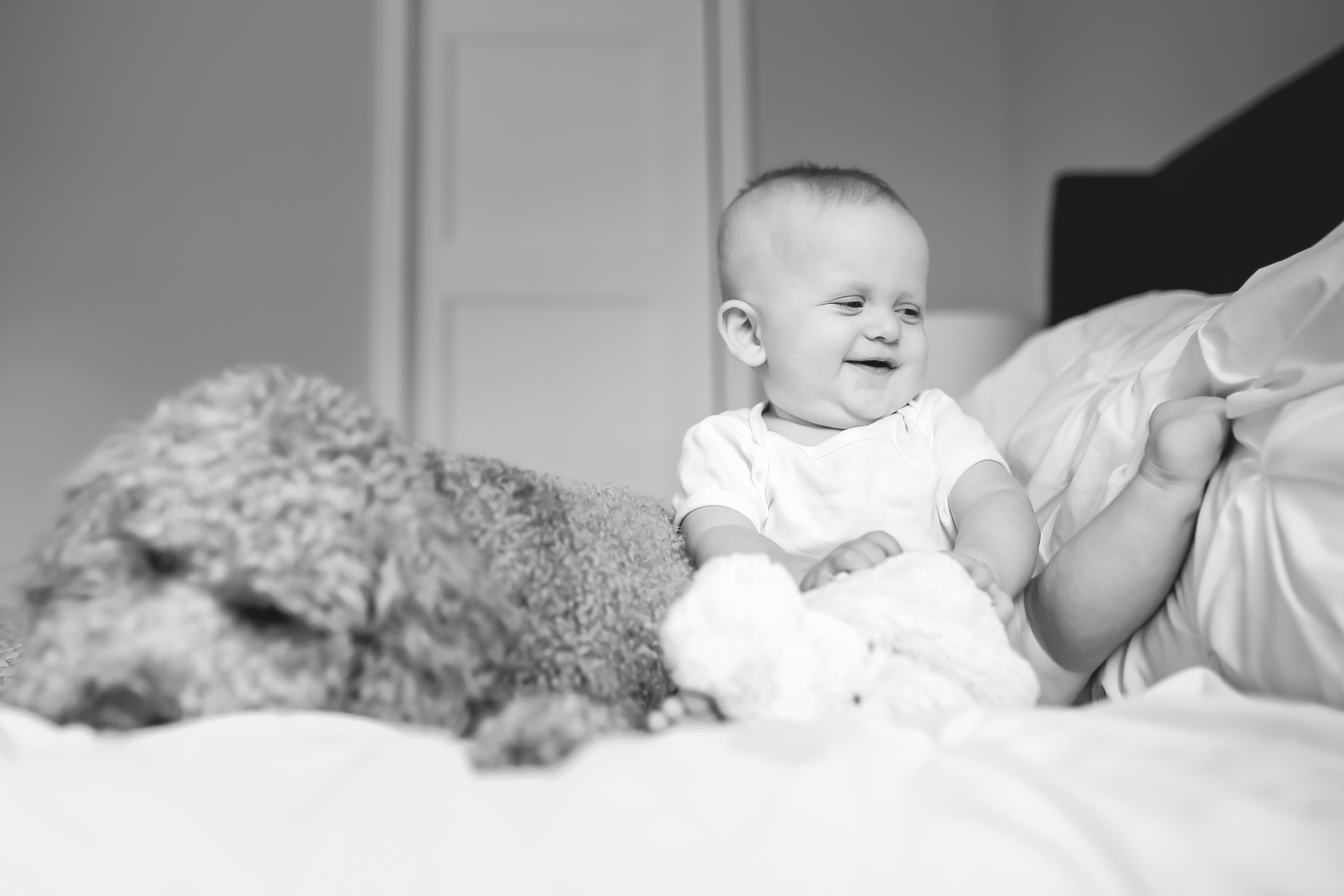 baby boy on bed with dog