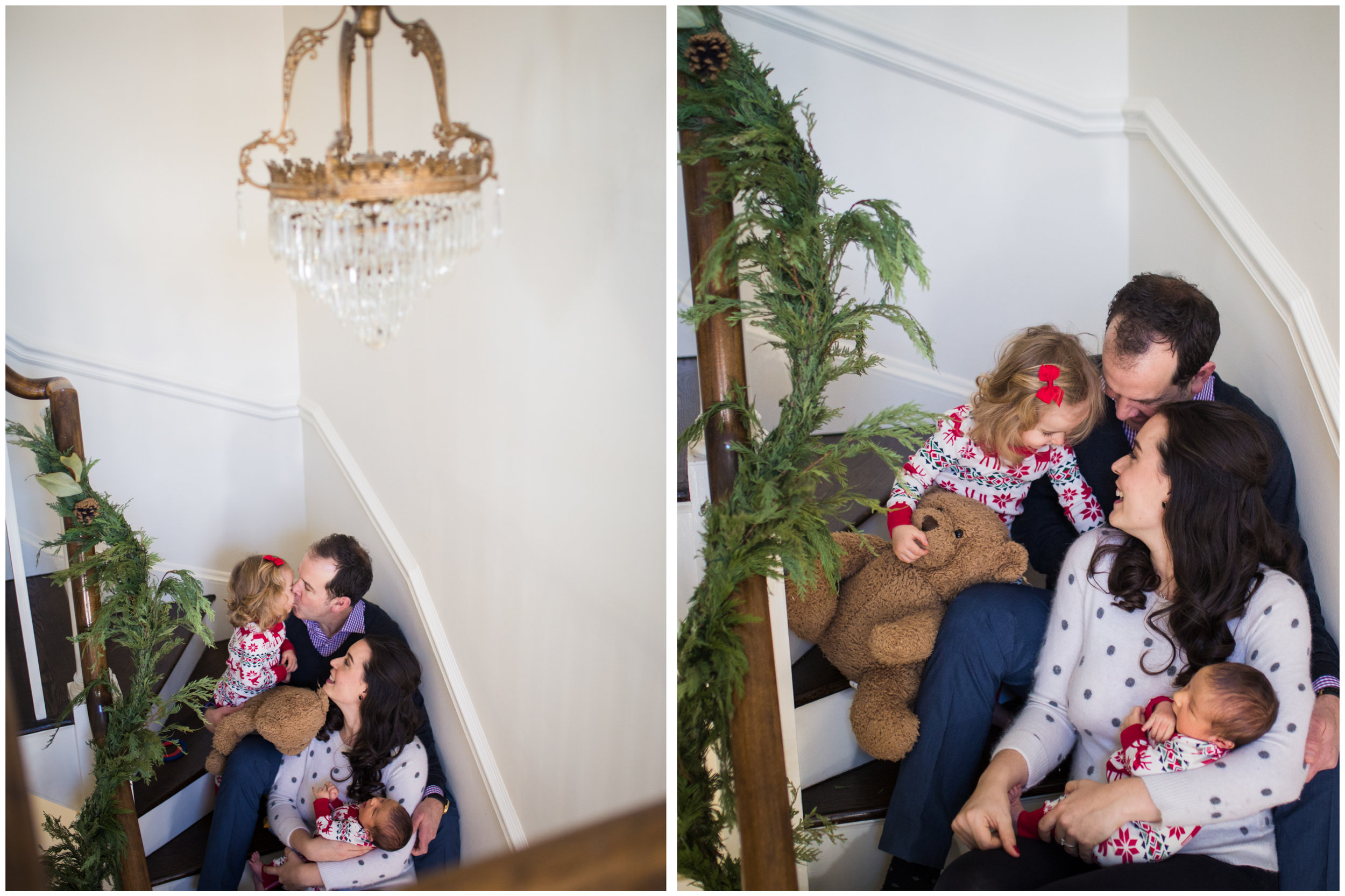 chicago newborn lifestyle photographer jenny grimm family on stairs cuddle