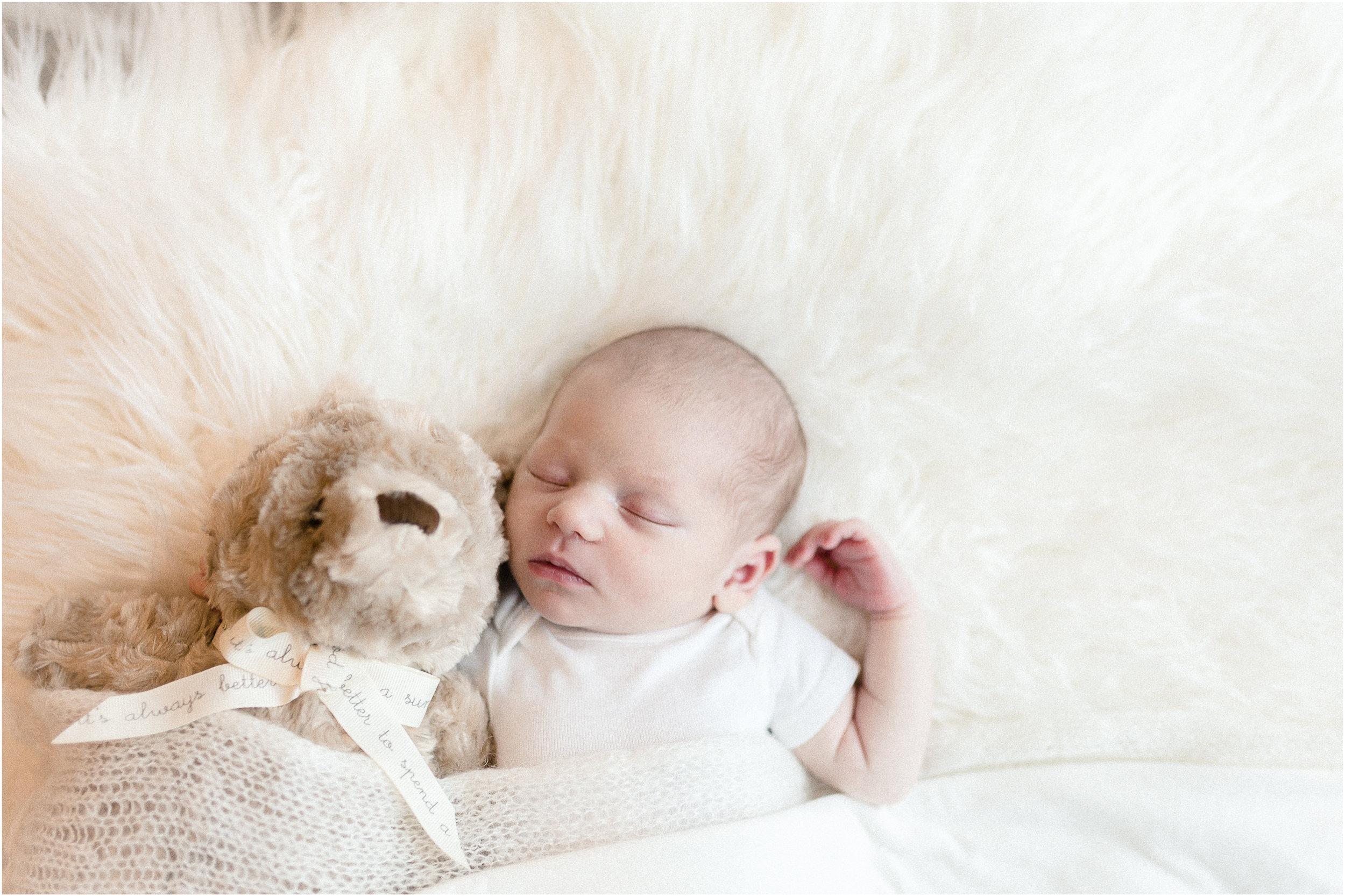 chicago newborn baby with teddy bear sleeping lifestyle family photographer jenny grimm