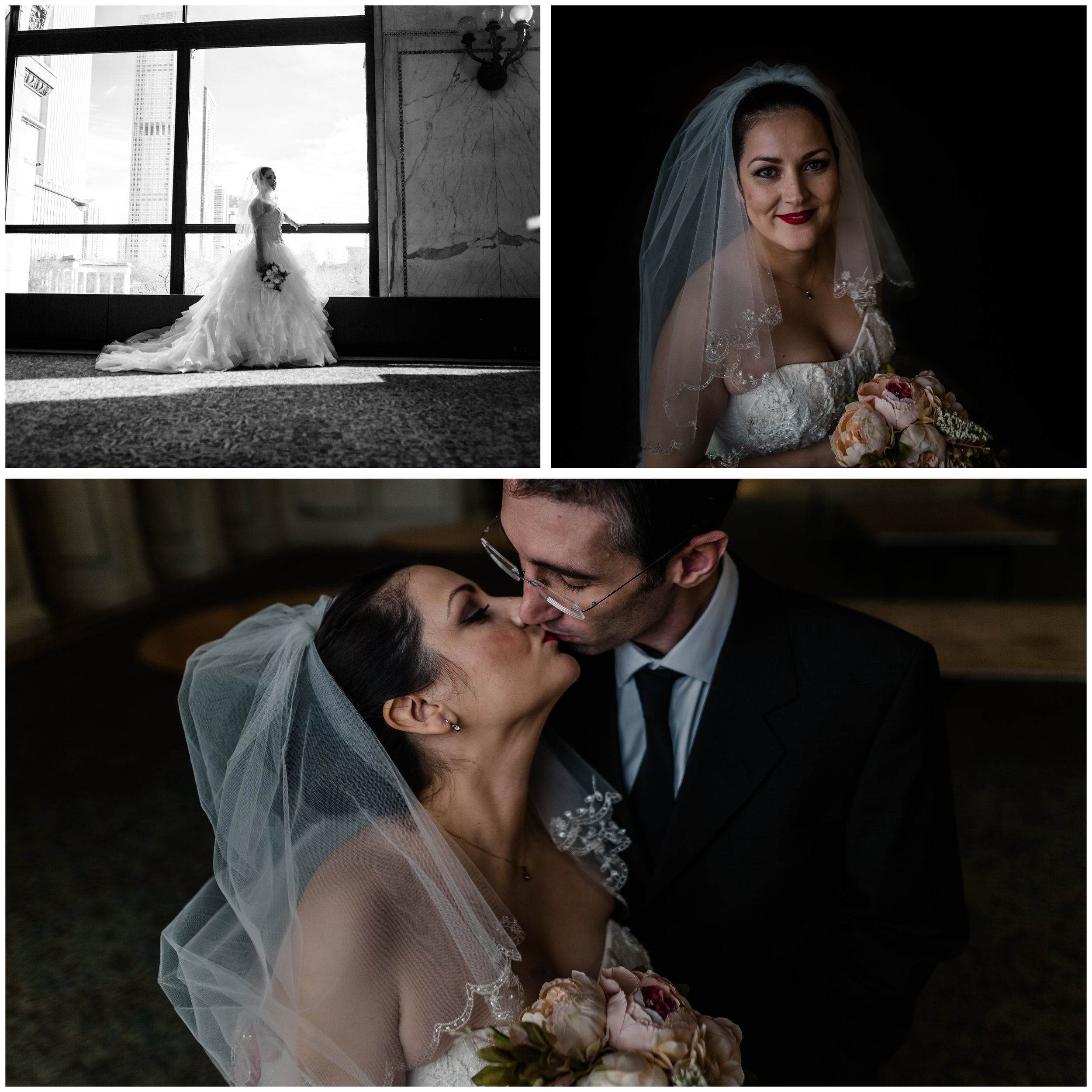 chicago cultural center winter bride bridal portrait jenny grimm photography