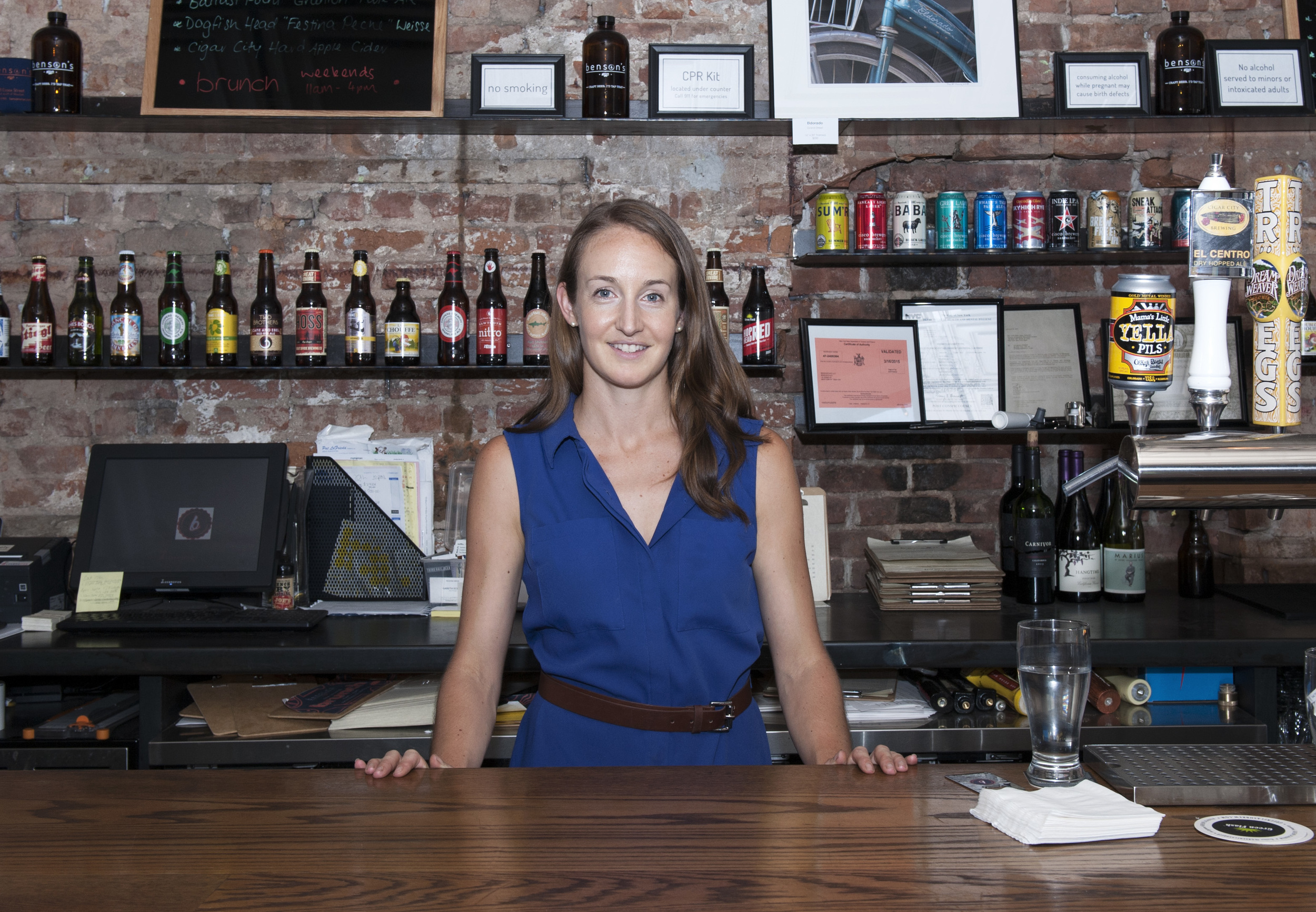 Annie Morton behind the bar at Benson's NYC