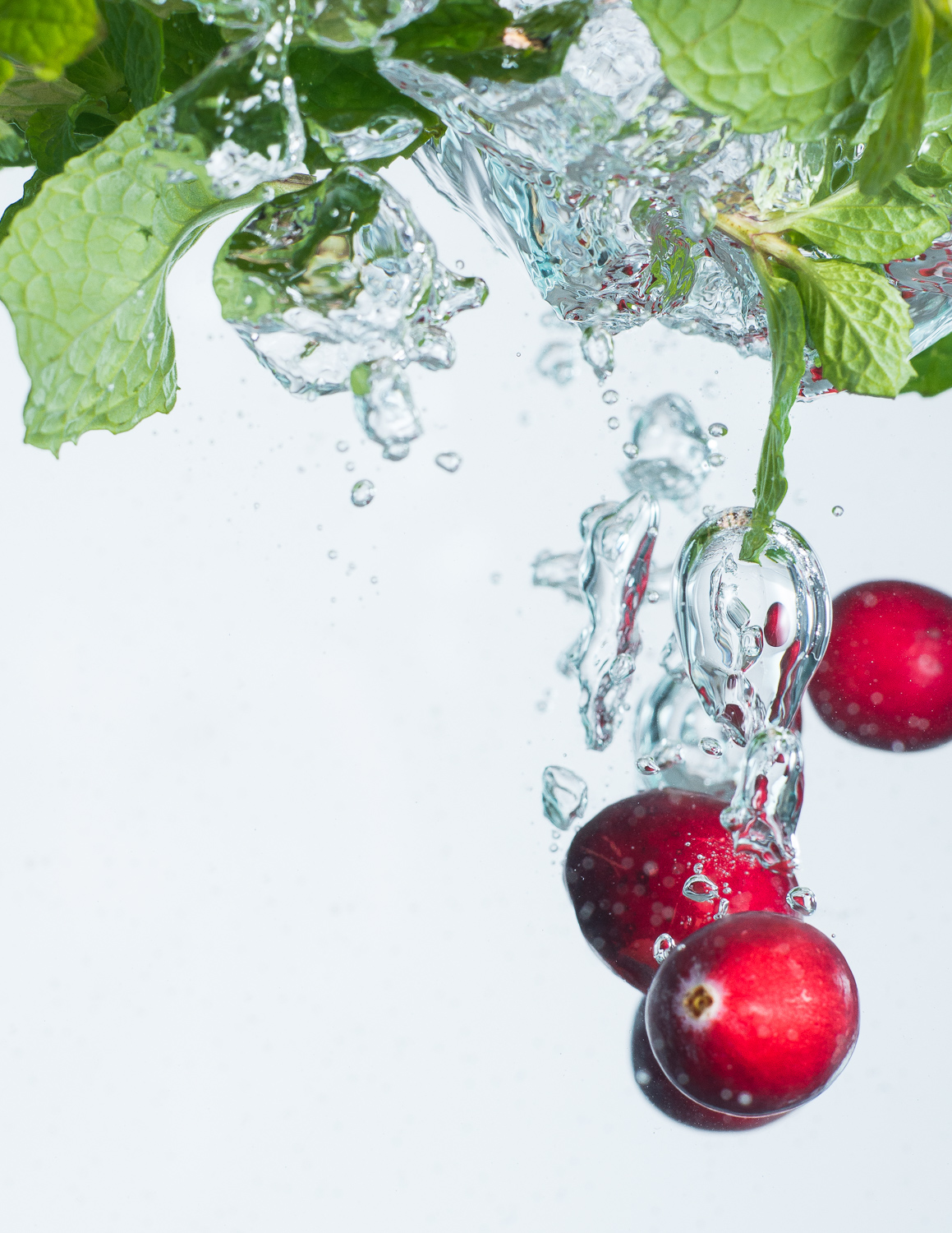 Cranberries and mint in water food photography