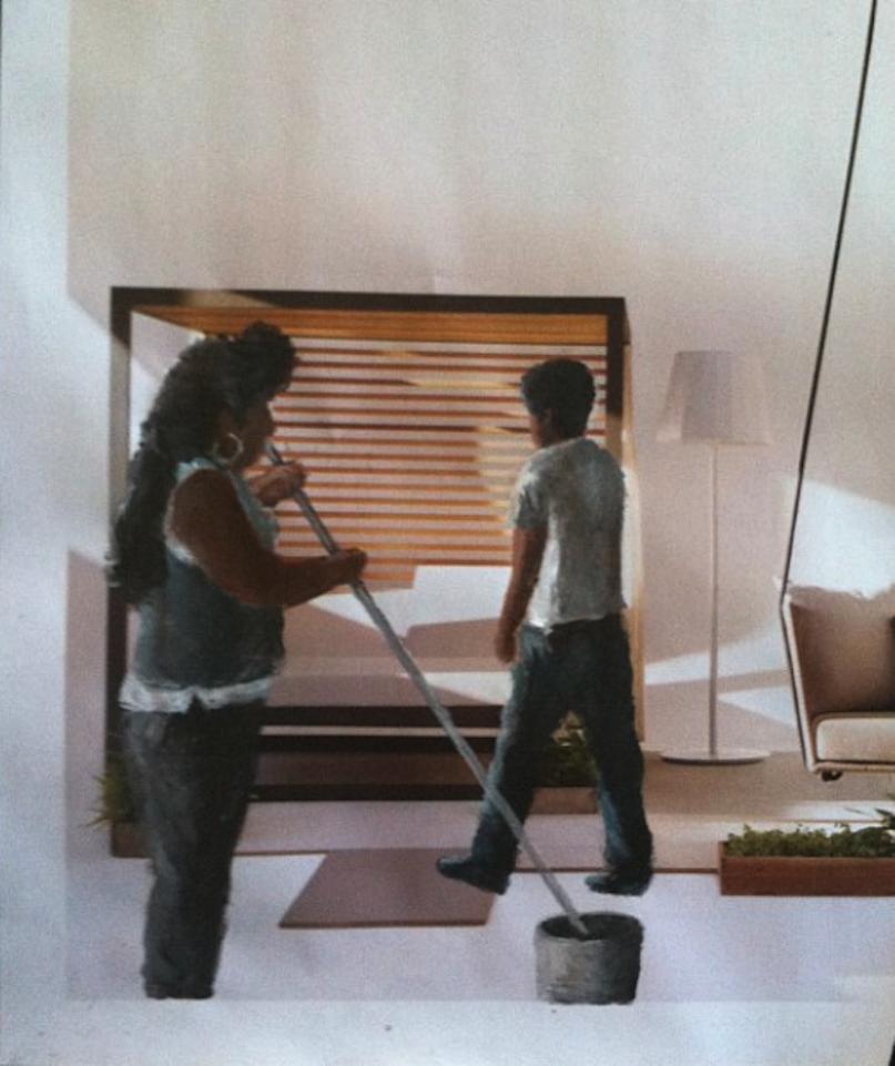 Ramiro Gomez, Maria Luisa with the Laundry Basket, acrylic on magazine, 2013