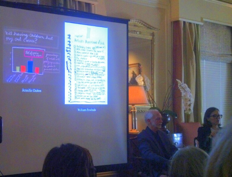 Kenneth Baker and Sarah Thornton in conversation, with Jennifer Dalton & William Powhida artwork on the screen, at the Town & Country Club, San Francisco.