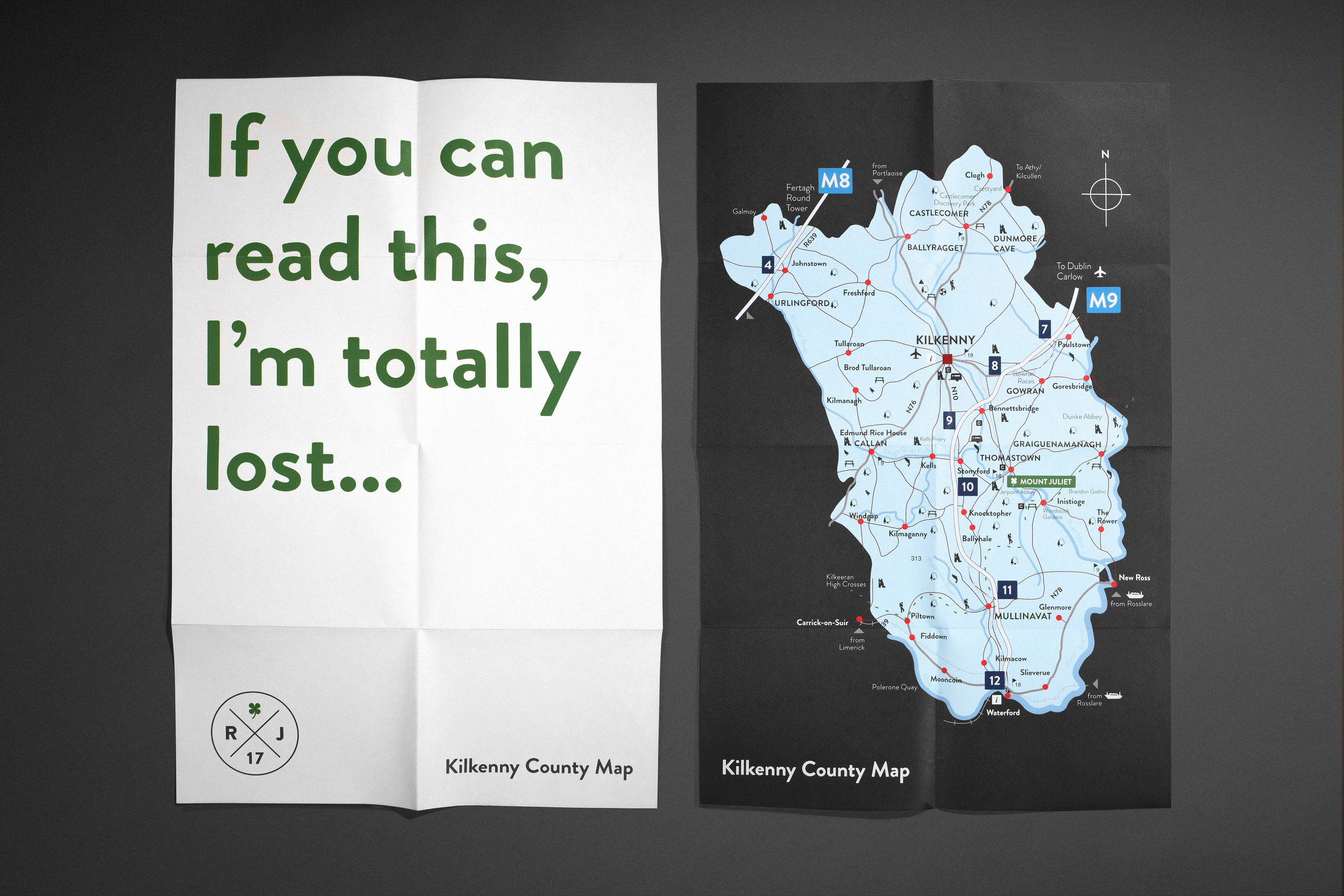 Custom Destination Wedding Map (co. Kilkenny, Ireland)
