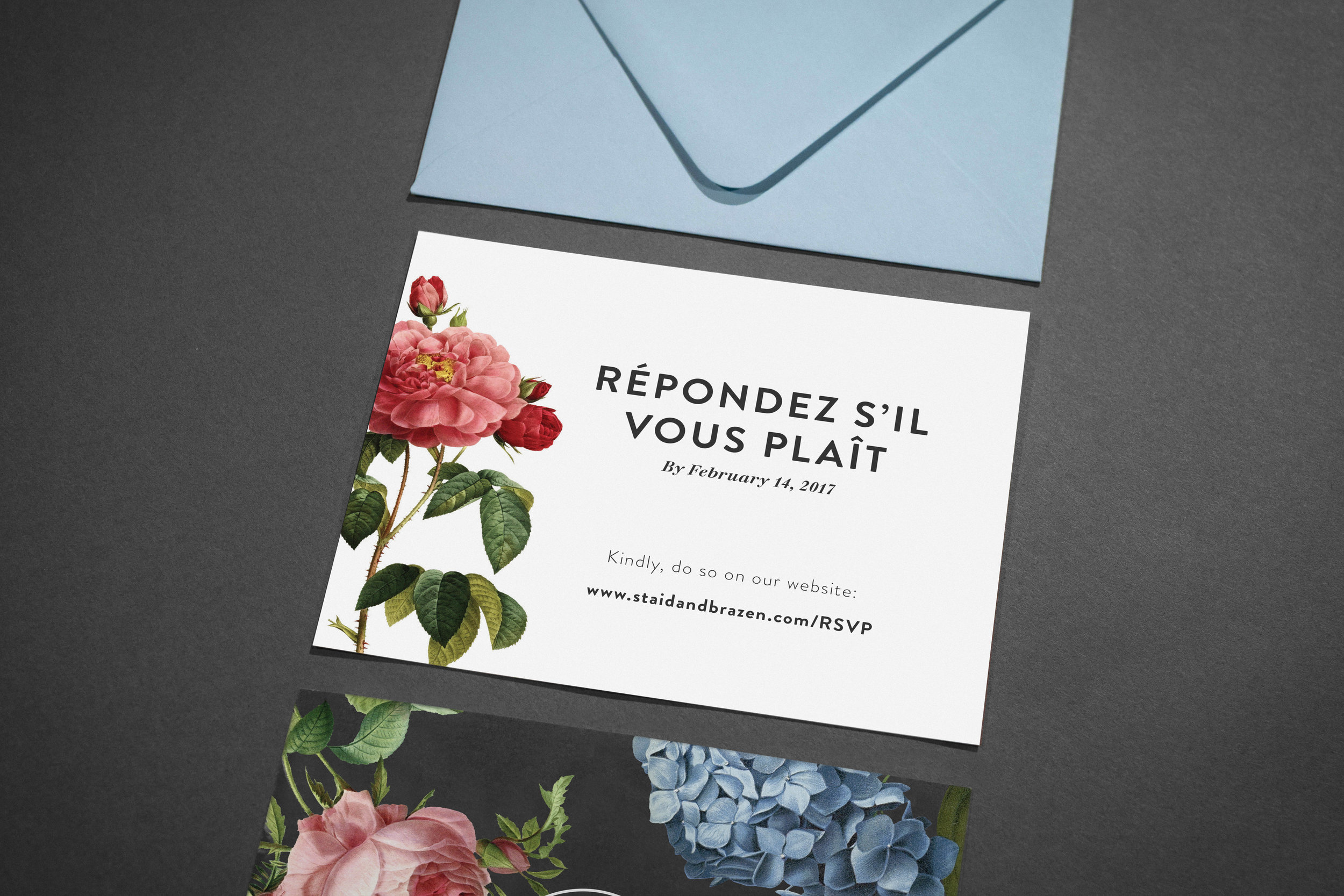 Custom Wedding Suite (RSVP card + envelope) by Maystorm Studio