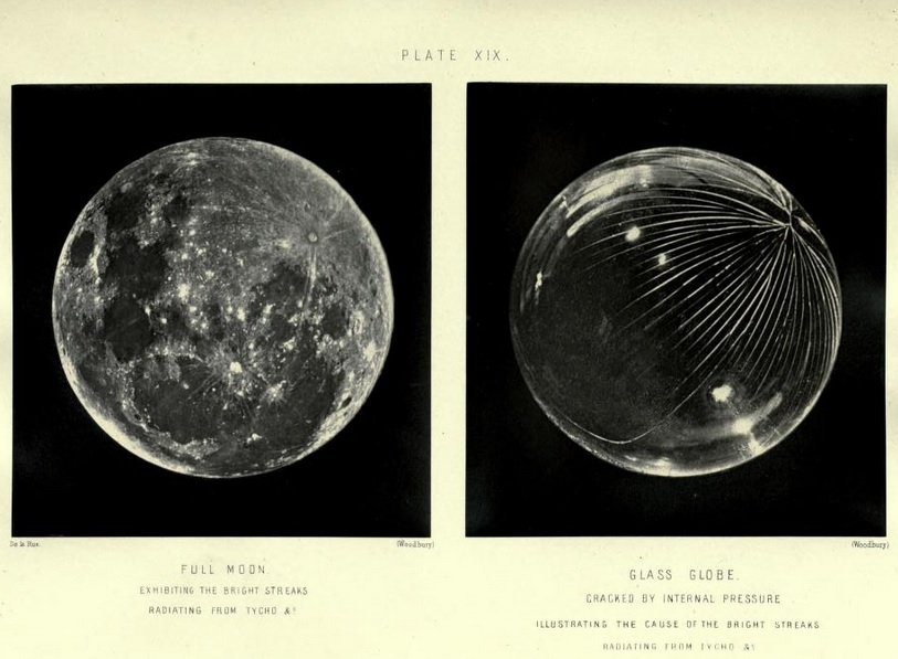 James Nasmyth,  The Moon: Considered as a Planet, a World, and a Satellite , 1885. Plate XIX