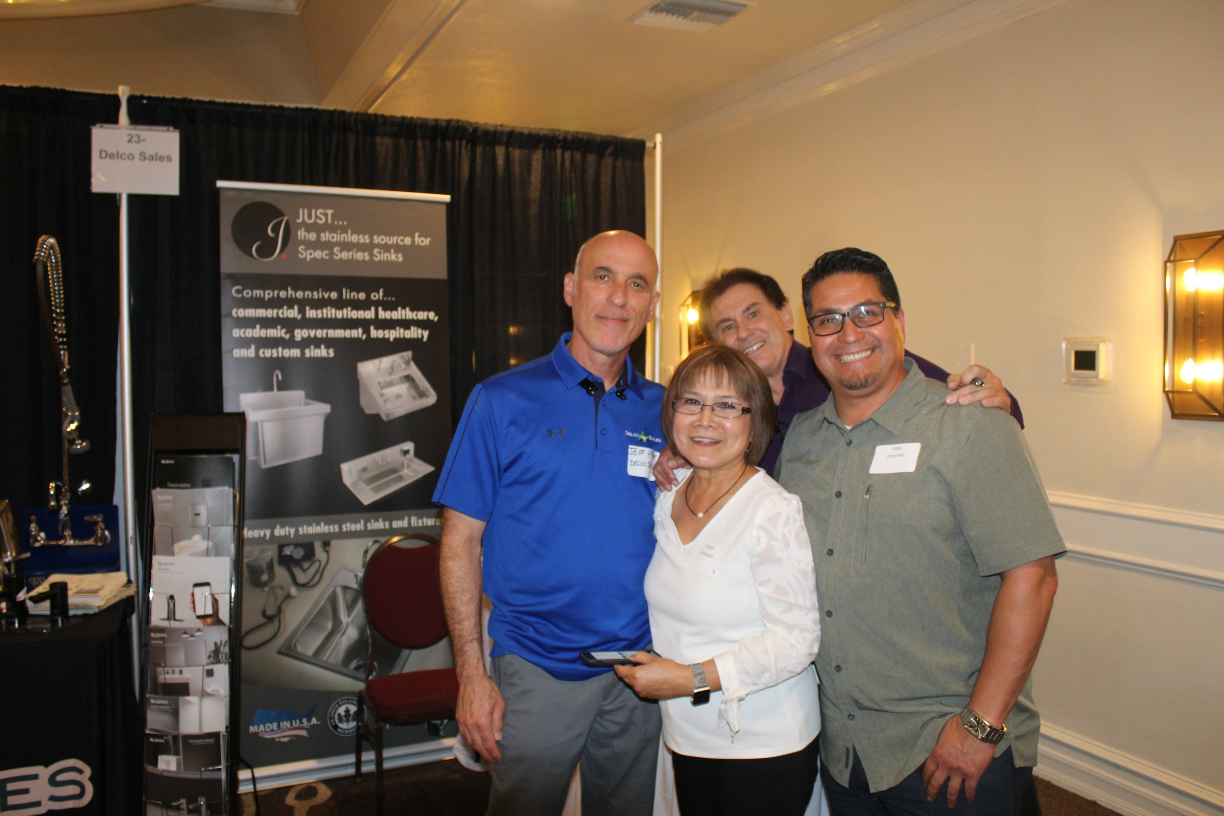 Jeff Atlas, Vivian Enriquez, Just Manufacturing Regional Sales Manager Tod Reveles and Delco Sales Specification Team Member Alex Jimenez