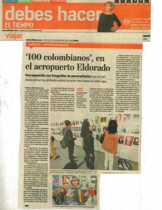 """""""100 Most Outstanding Colombians Abroad"""" Exhibition - El Dorado Airport - Bogotá, Colombia"""