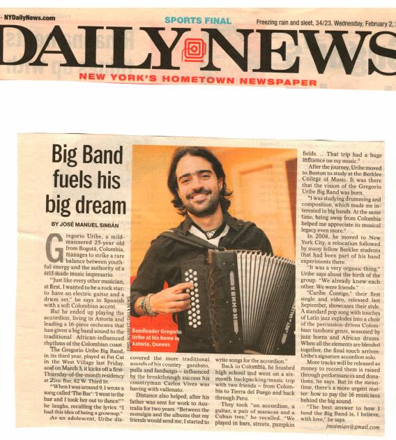 "Daily News - ""Big band fuels Gregorio Uribe's big dream"""