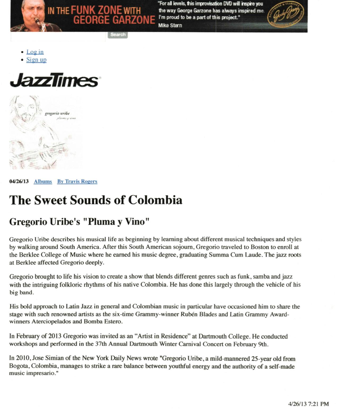"""Jazz Times - """"Pluma y Vino"""" Review"""