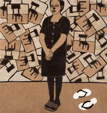 Ephrem Solomon, Dignity of the Lady, 2013, woodcut and mixed media, 90cm by 95cm
