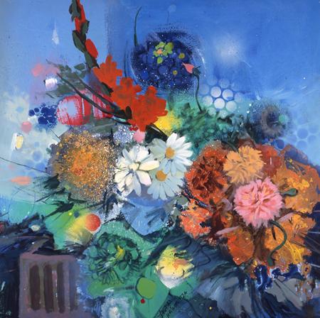 Flowers No 2,  oil on hardboard, 122 by 122 cm