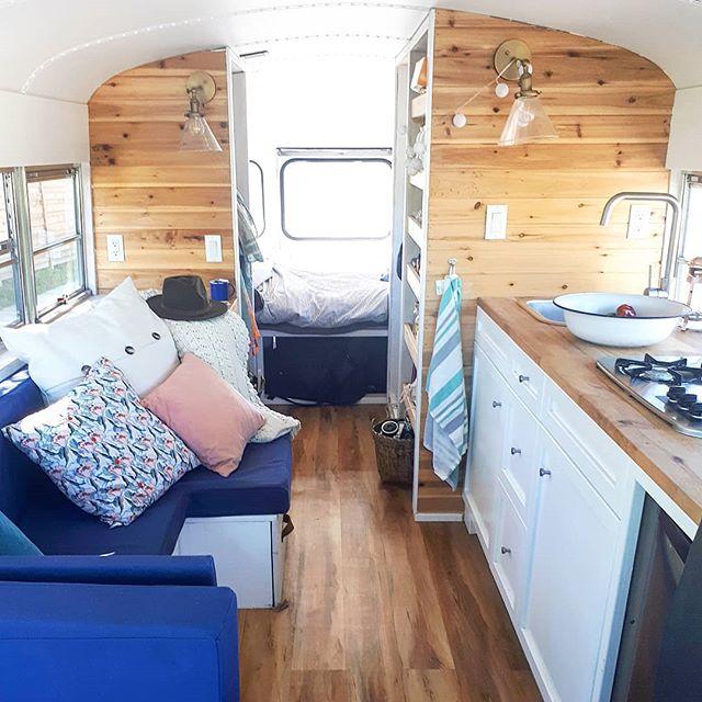 One of the rare moments when the bus is clean enough for a brilliant photo! You'd be surprised how messy such a small space can get.... #treibholzdesigns #vanliving #homeonwheels
