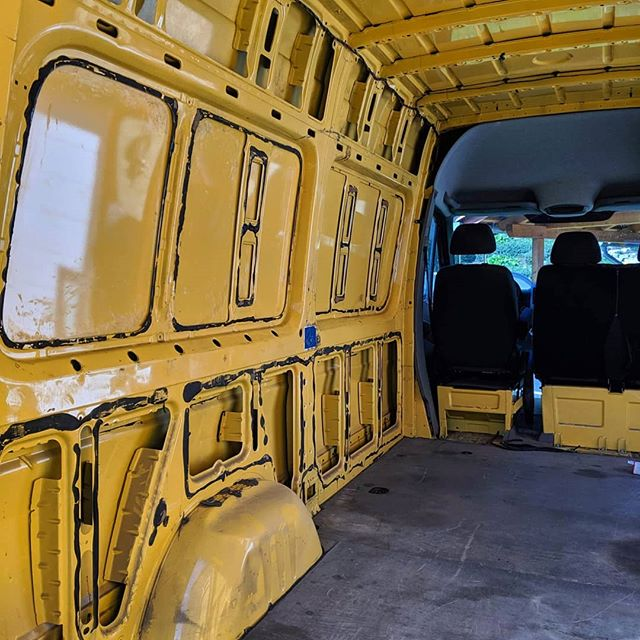 Here's the next update!! Completely stripped and ready to go! What colour should we stain our wood?? #treibholzdesigns #vanlifediaries #vanconversion