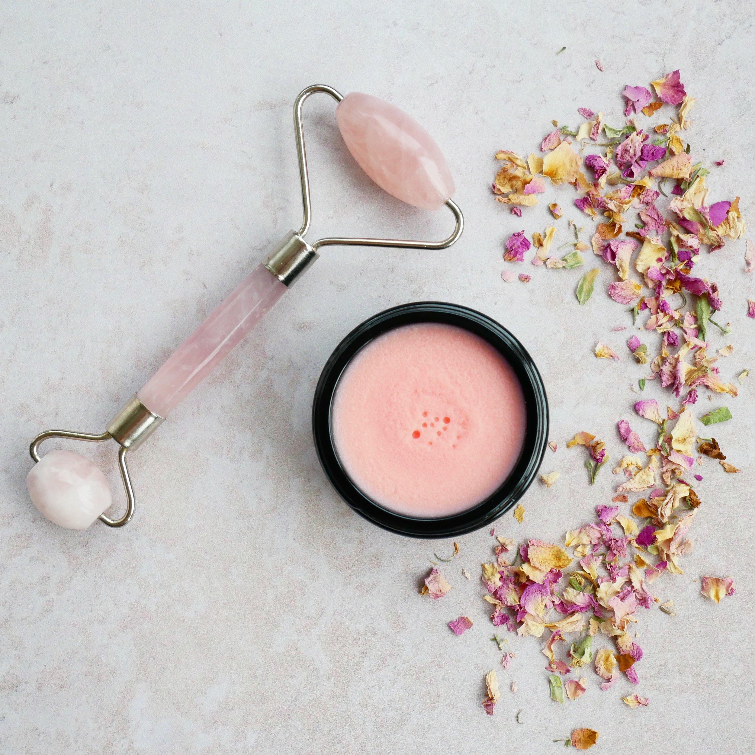 facebalm opskrift lyserød farve rosakvarts ansigtsrulle rosakvarts rulle rose quartz face roller