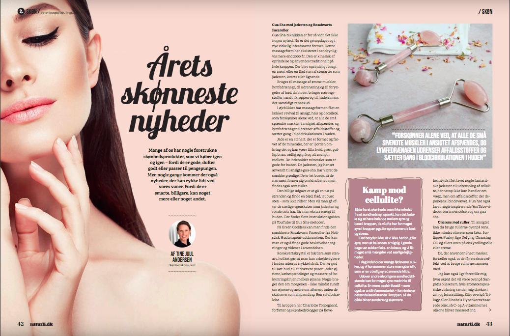 Naturli, november 2017. Læs Naturli's artikel om vores  face roller og  gua sha   HER.
