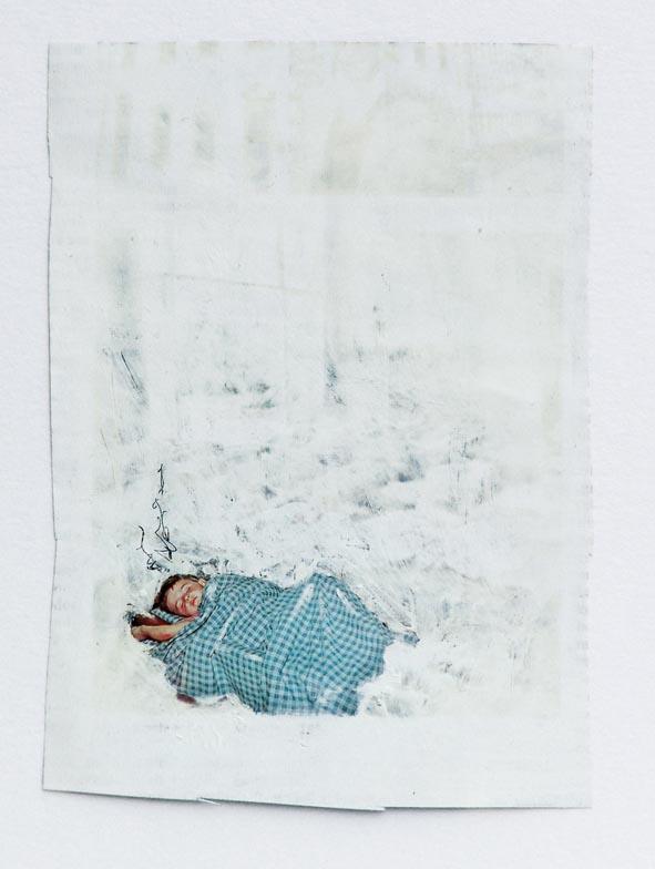 Boy , 2007 Oil pastel on magazine 15,8 x 11,3 cm