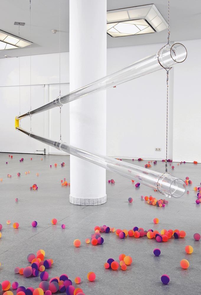 Praise Your Job Praise Your Bonus , 2009 Installation  Plexiglas, bouncy ball, cloth