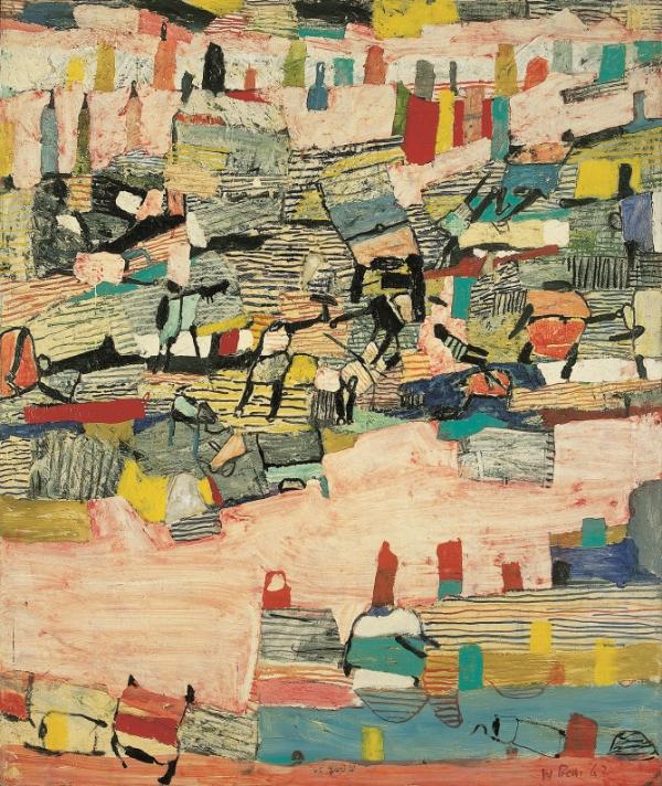 Daheim , 1962 Oil, collage on canvas 120 x 100 cm