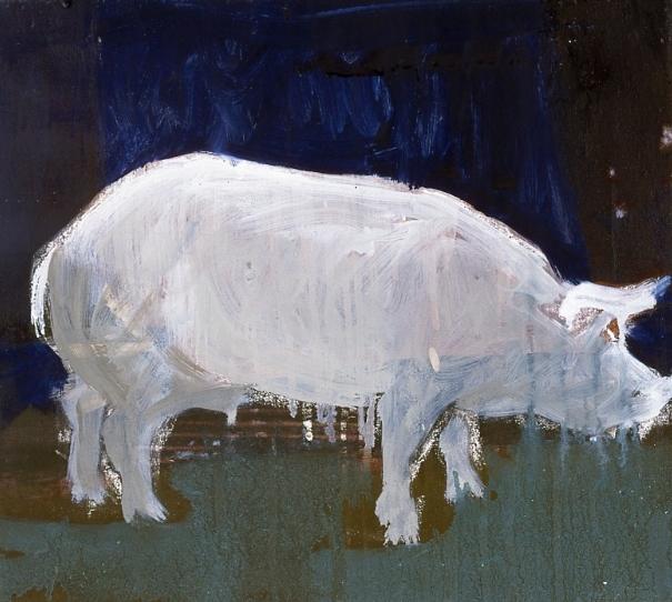 Schwein  (pig), 2010 Oil on nettle 40 x 50 cm