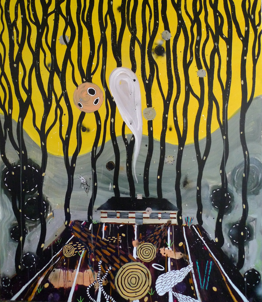The House and the Guardian , 2010 Acrylic on canvas 190 x 230 cm
