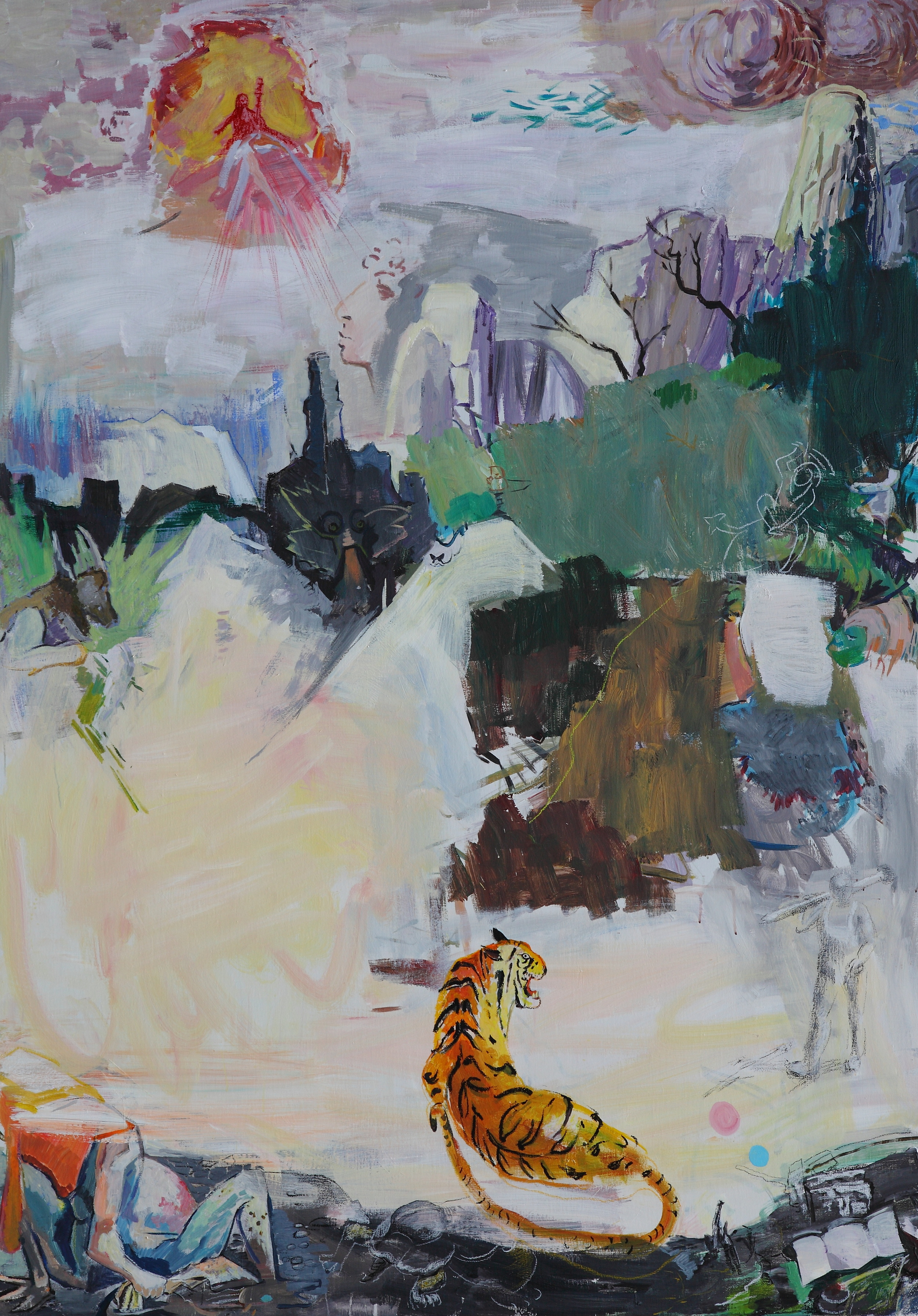 Berg in China , 2015 Mixed media on canvas 213 x 152 cm