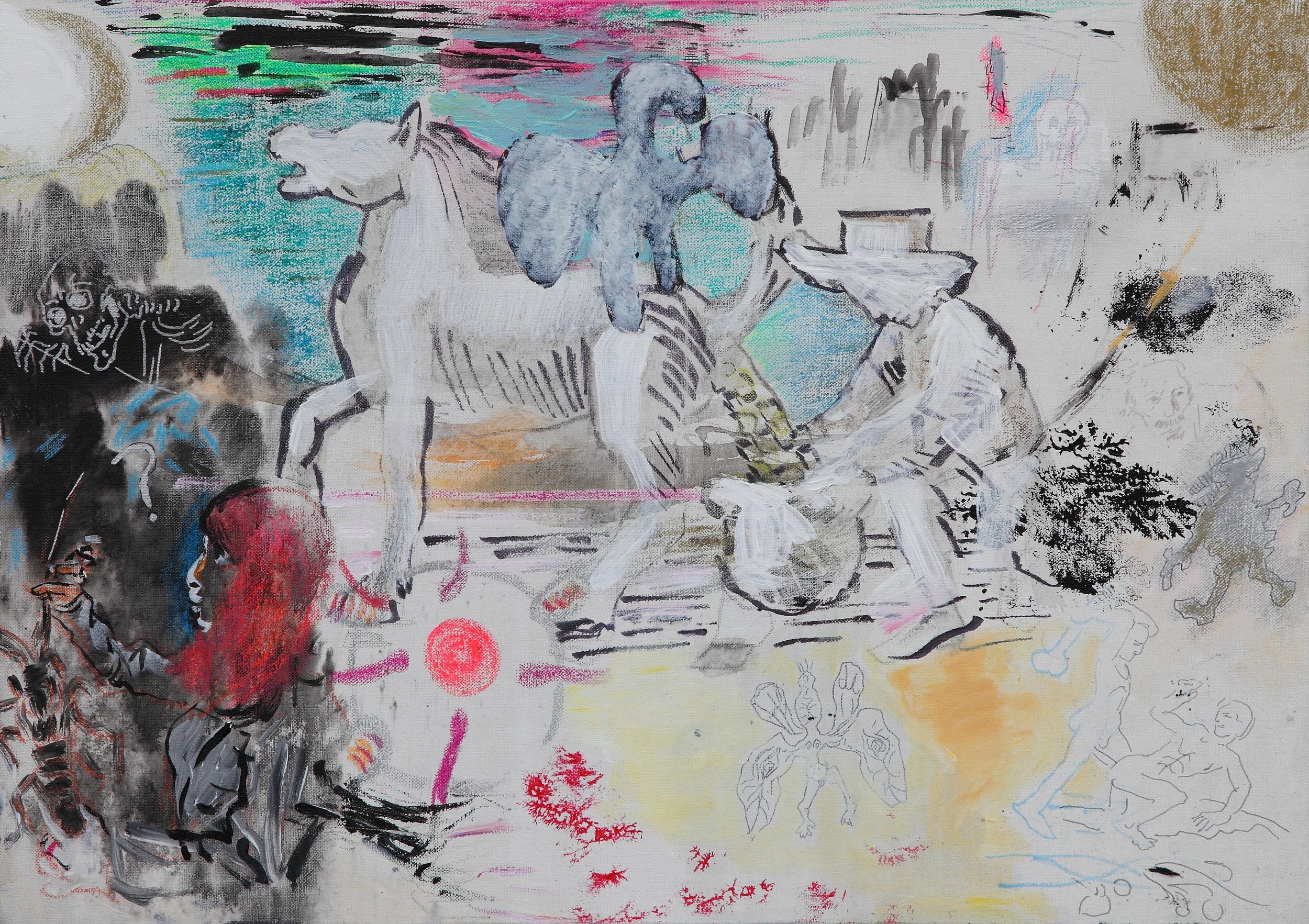 Golden Scheisse , 2015 Mixed media on canvas 50 x 70 cm
